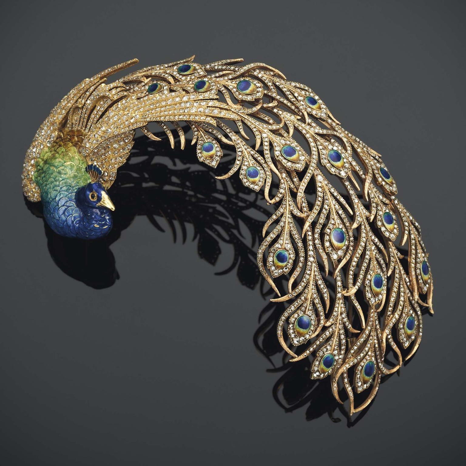Diamond and Enamel Peacock Aigrette