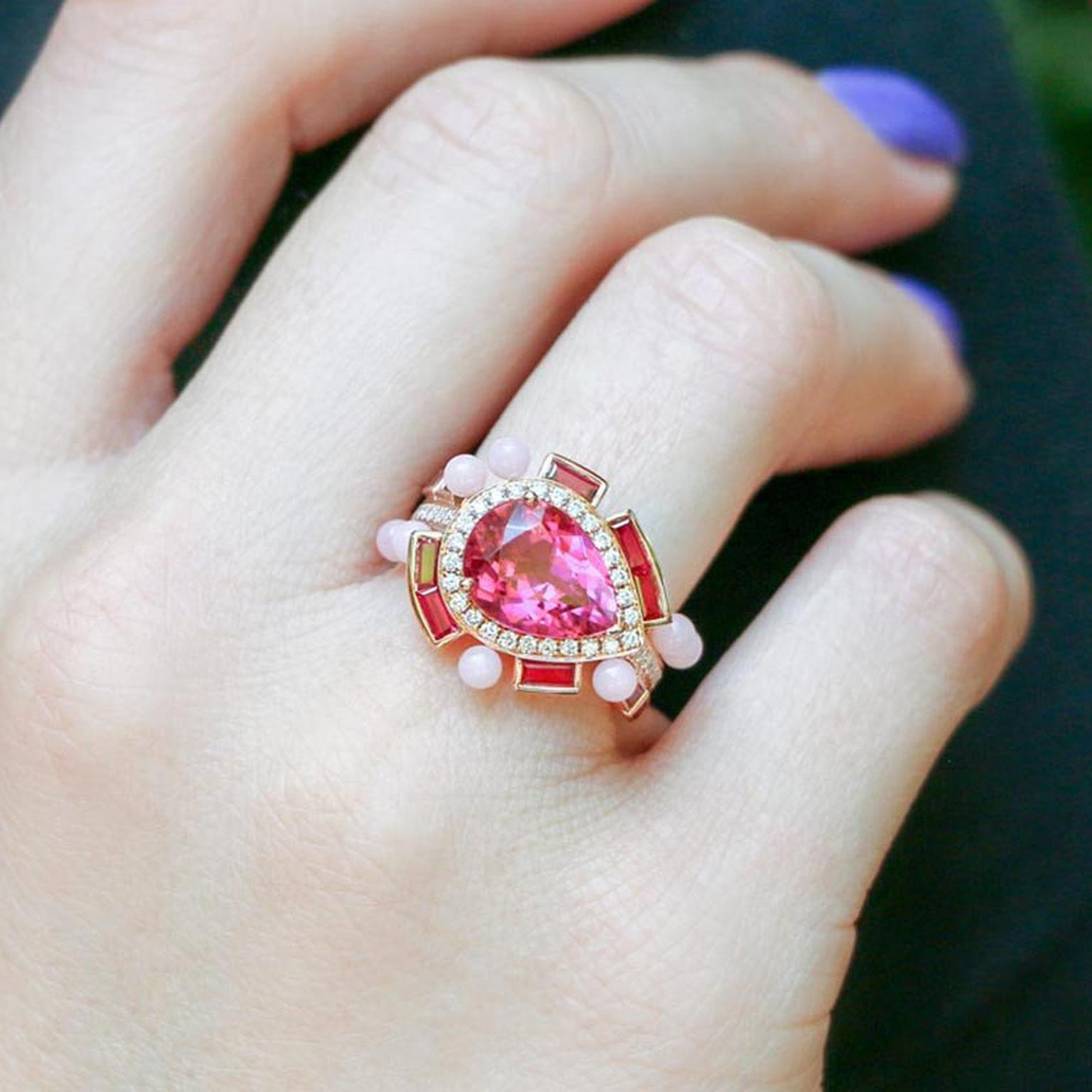 Sarah Ho Wisteria rubellite ring on finger