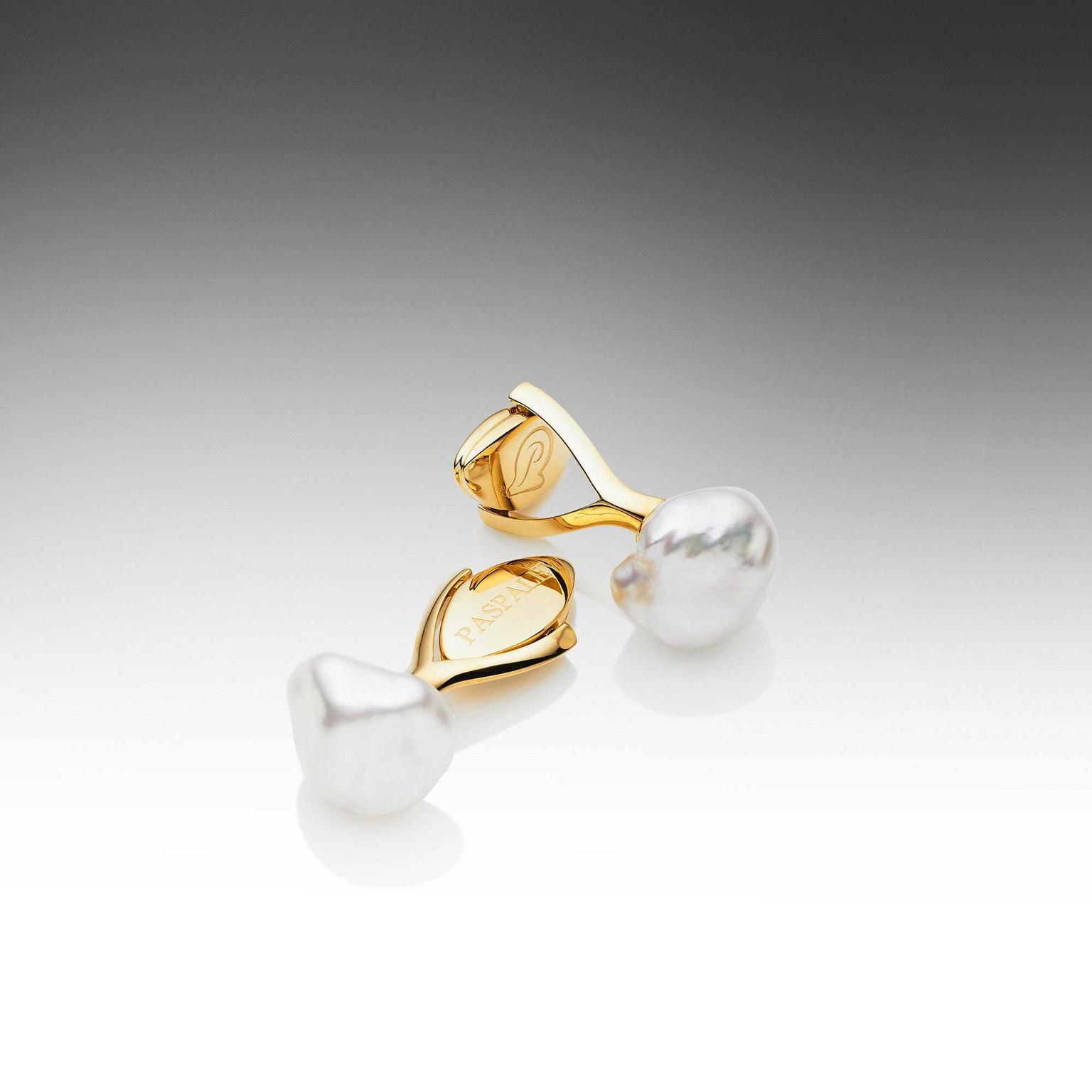Paspaley yellow gold cufflinks with white keshi pearls