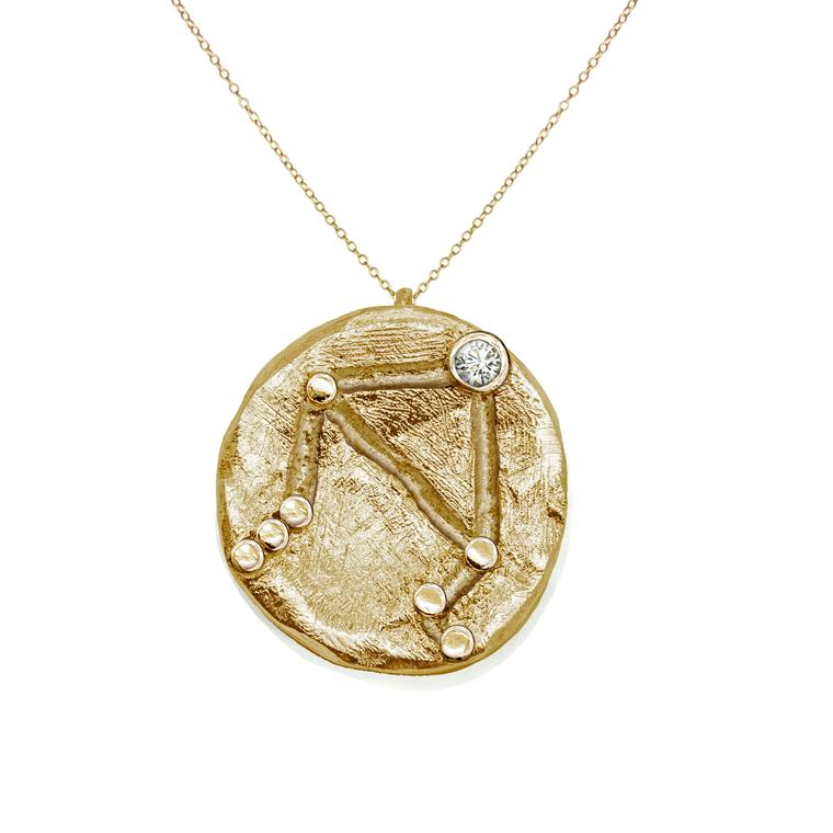 Anna Loucah star sign pendant in Fairtrade yellow gold