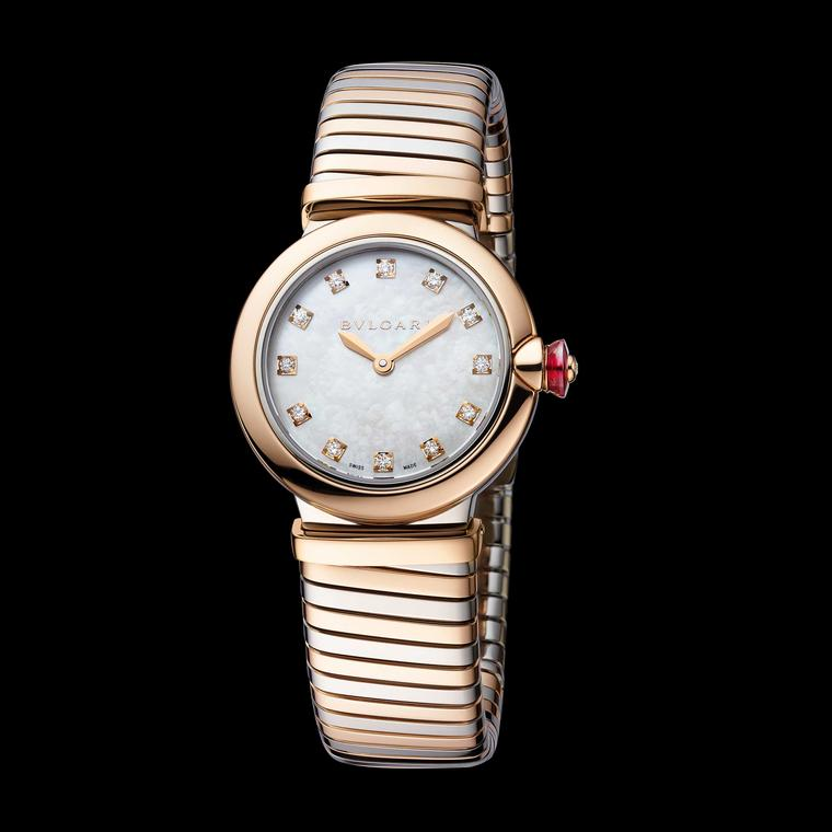 Bulgari Lvcea Tubogas 28mm rose gold and stainless steel women's watch 2018 Price:€9,300