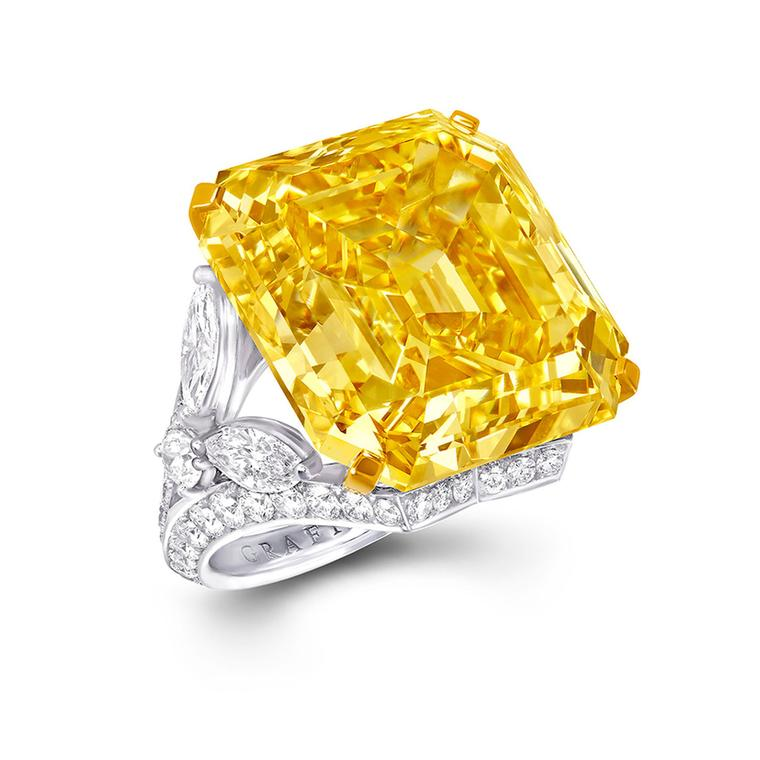 Graff yellow emerald cut ring