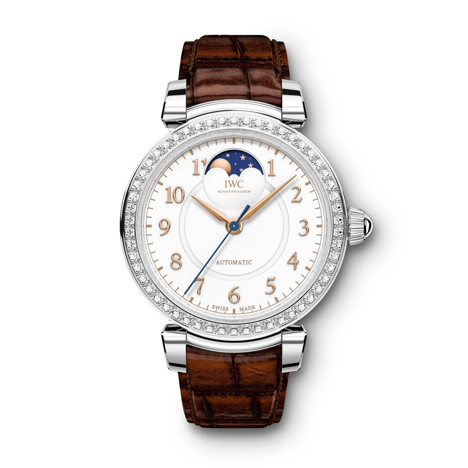 IWC Da Vinci Moon phase steel watch for women with diamonds
