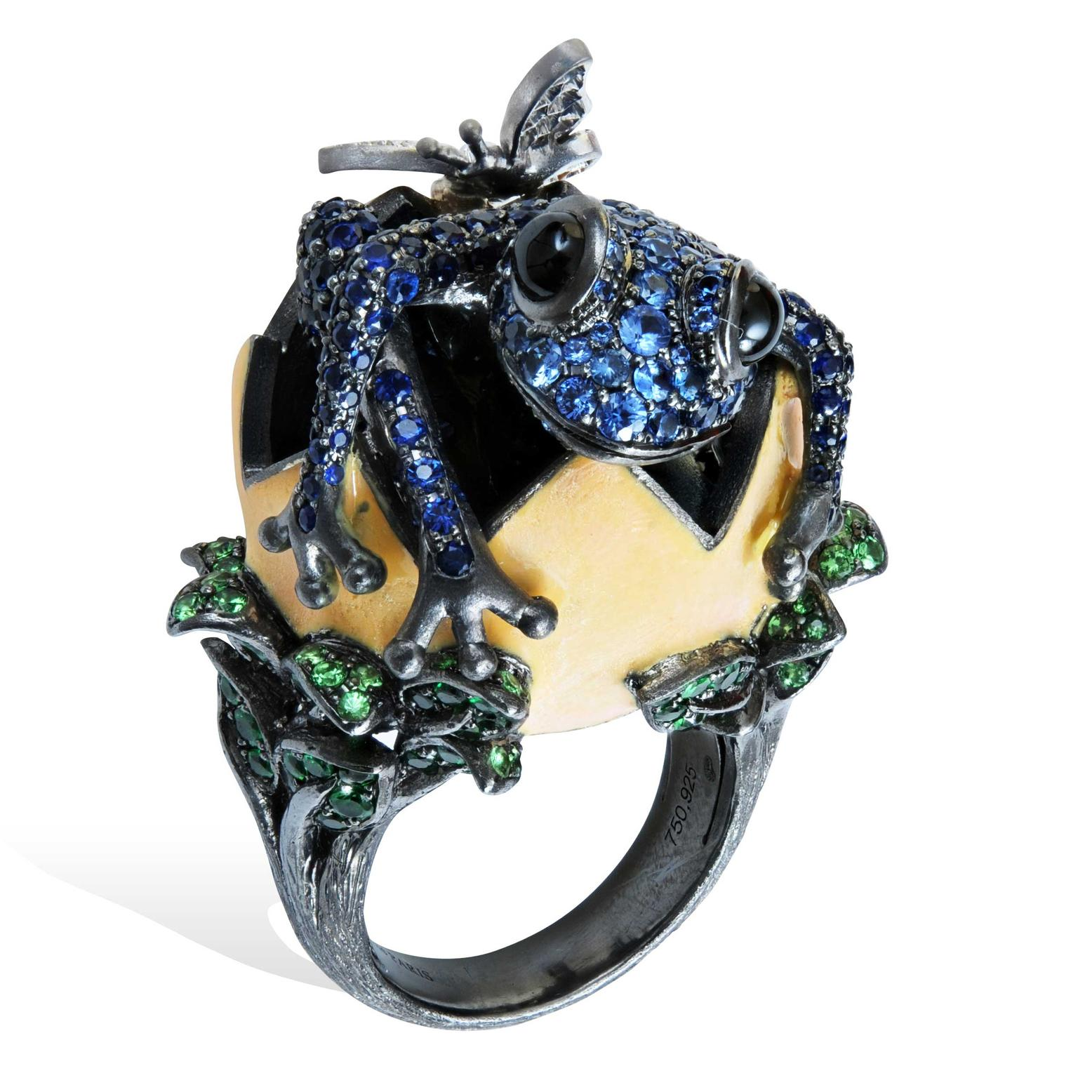 Lydia Courteille Procreation blue frog hatching from egg ring