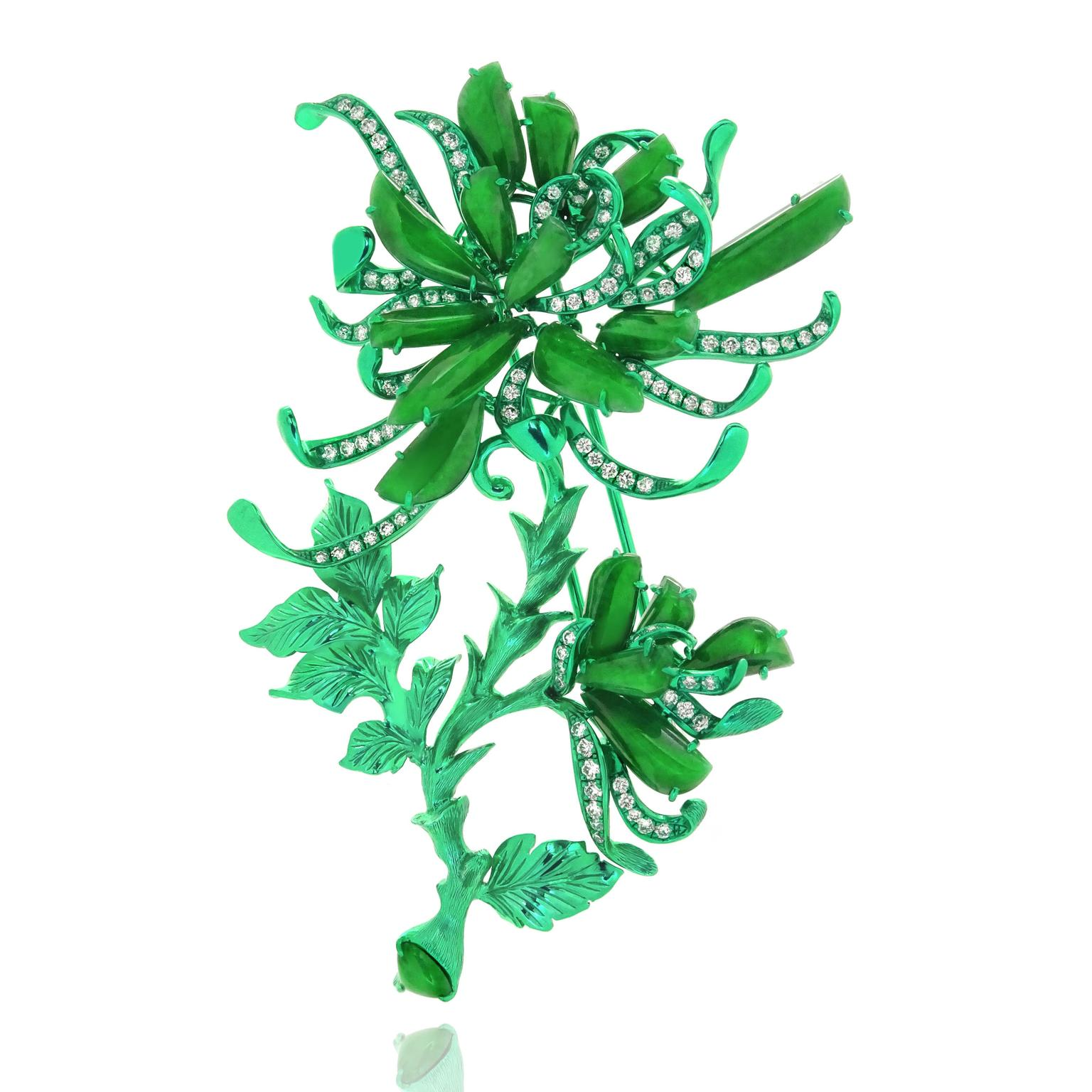 The Green Chrysanthemum brooch from Austy Lee