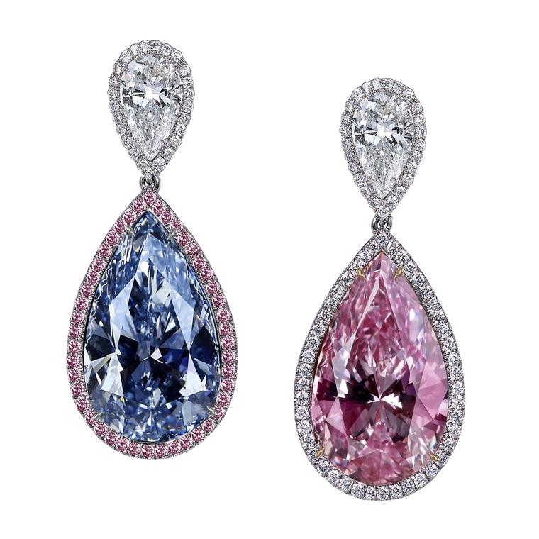 Fancy pink and Fancy light blue diamond earrings