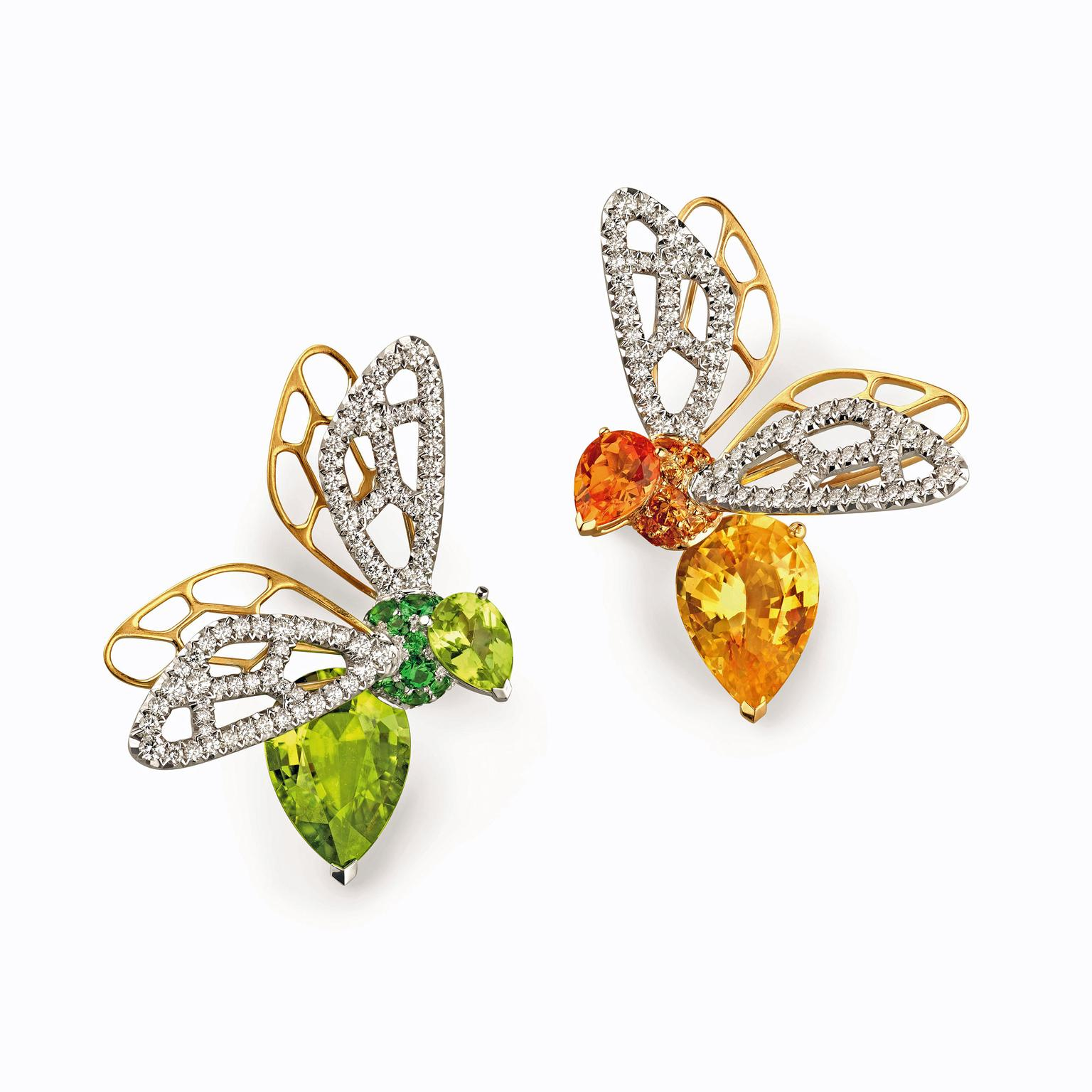 Chaumet Abeille high jewellery orange sapphire and peridot earrings