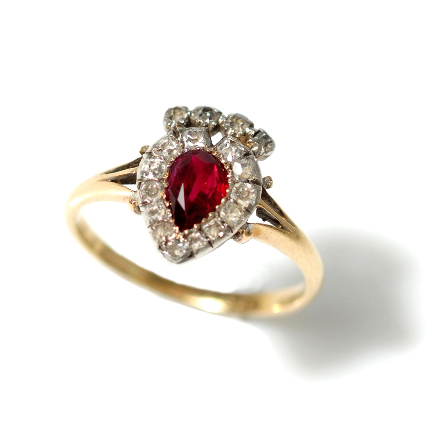 Trivette ruby and diamond heart ring