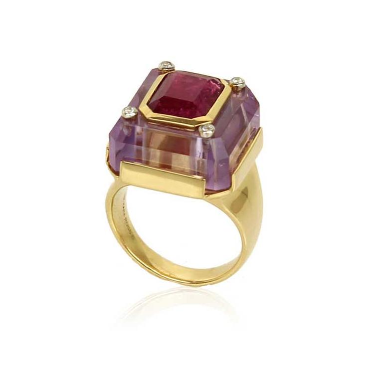 Kara Ross Cava ring in amethyst and ruby