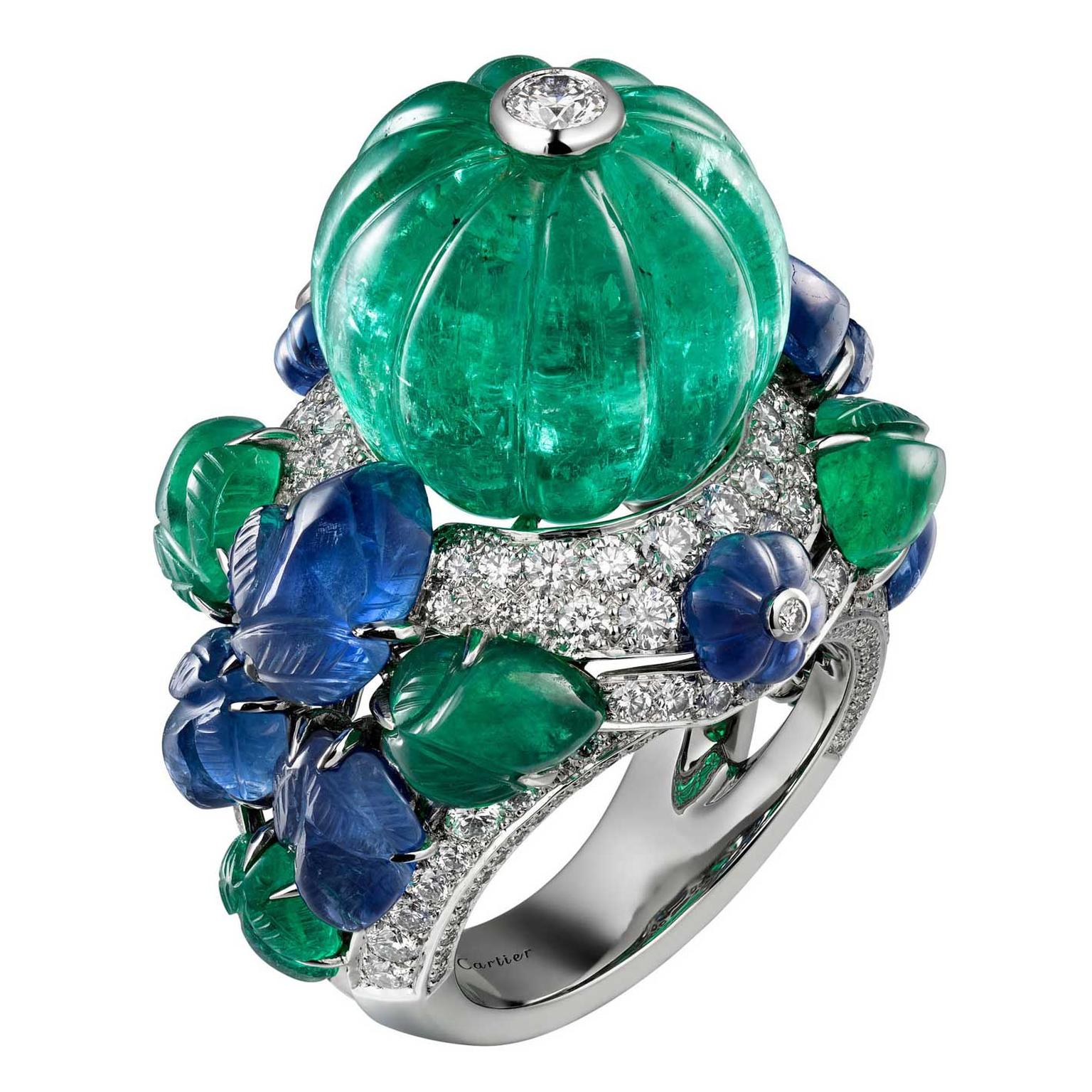 Cartier Étourdissant emerald, sapphire and diamond ring