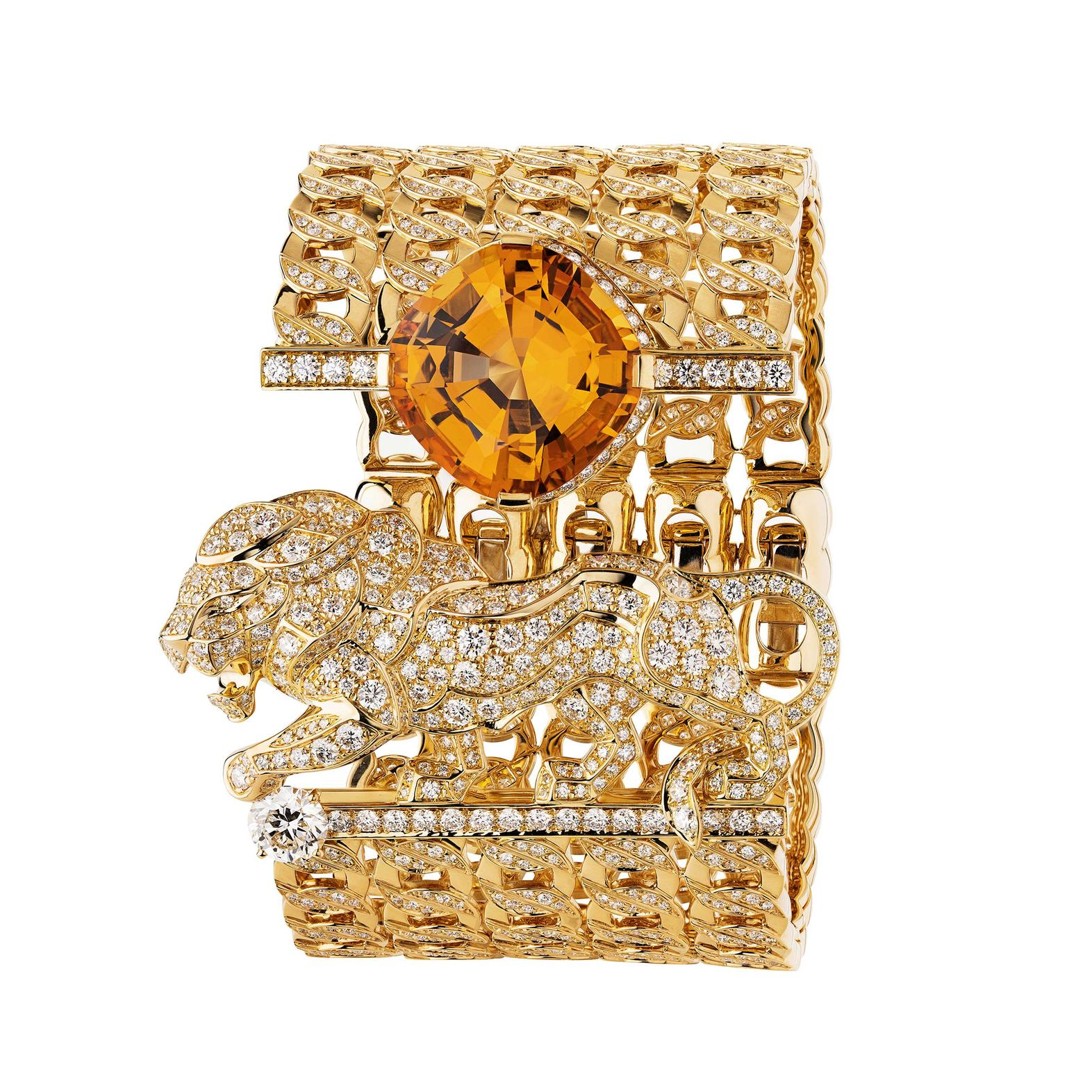 An orange topaz beams out from Chanel's 'Passionate' bracelet featuring a diamond-set lion and a cuff made up of four rows of rigid gold links from the new L'Esprit du Lion high jewellery collection.