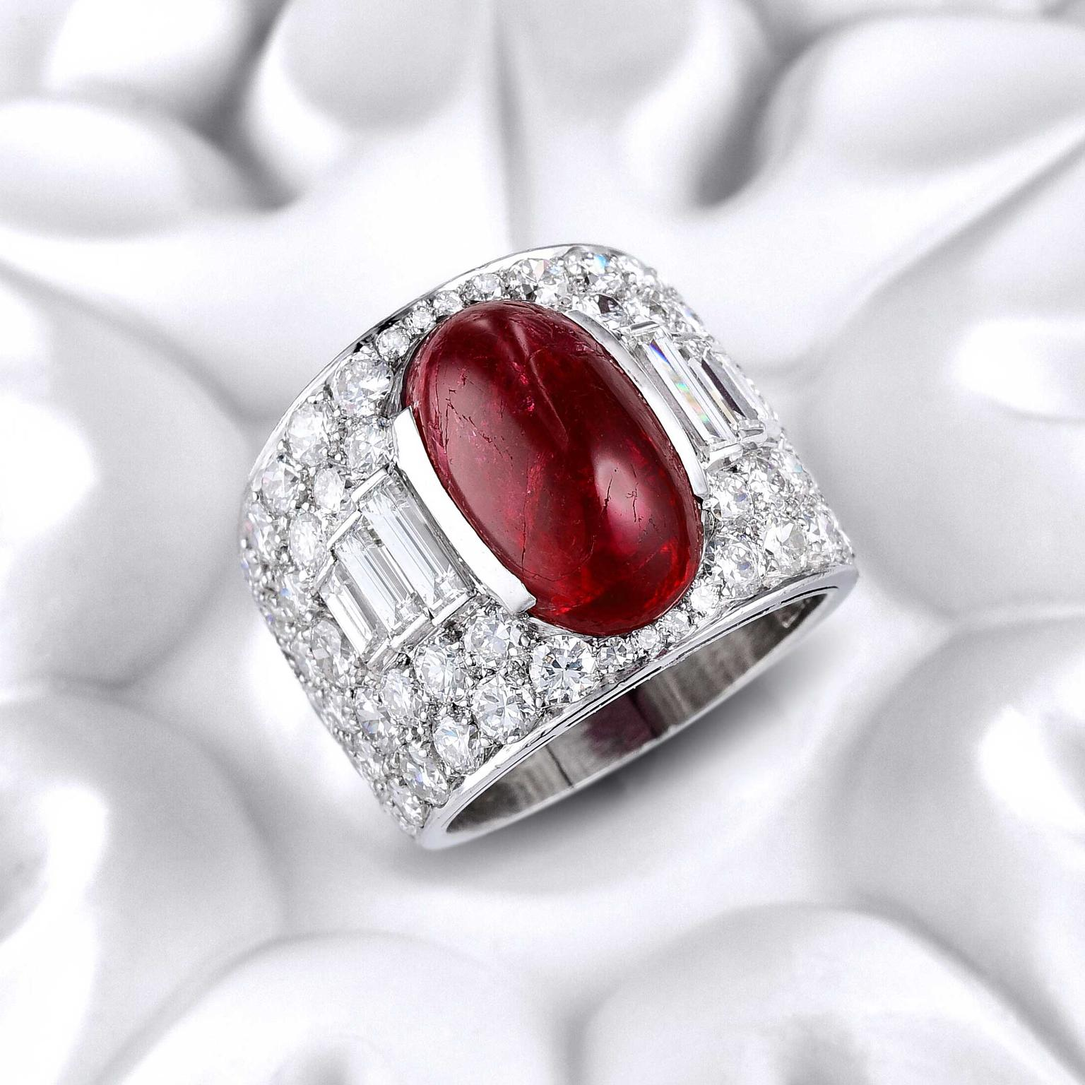 Bulgari Burmese Ruby Diamond Trombino Ring Estimate: $15000 to 25000