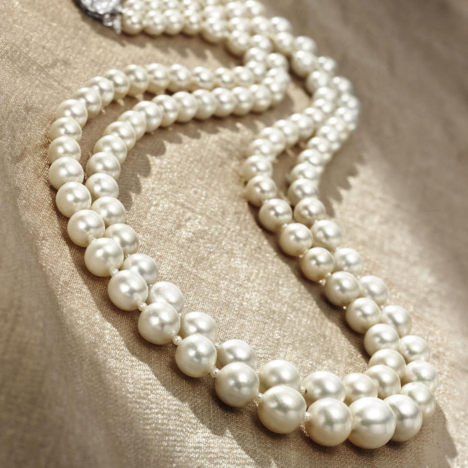 Christies double strand natural pearl necklace