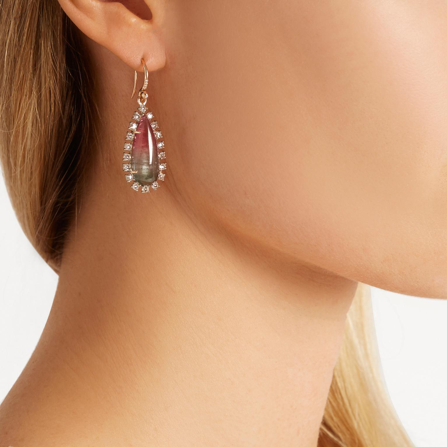 Irene Neuwirth watermelon tourmaline earrings