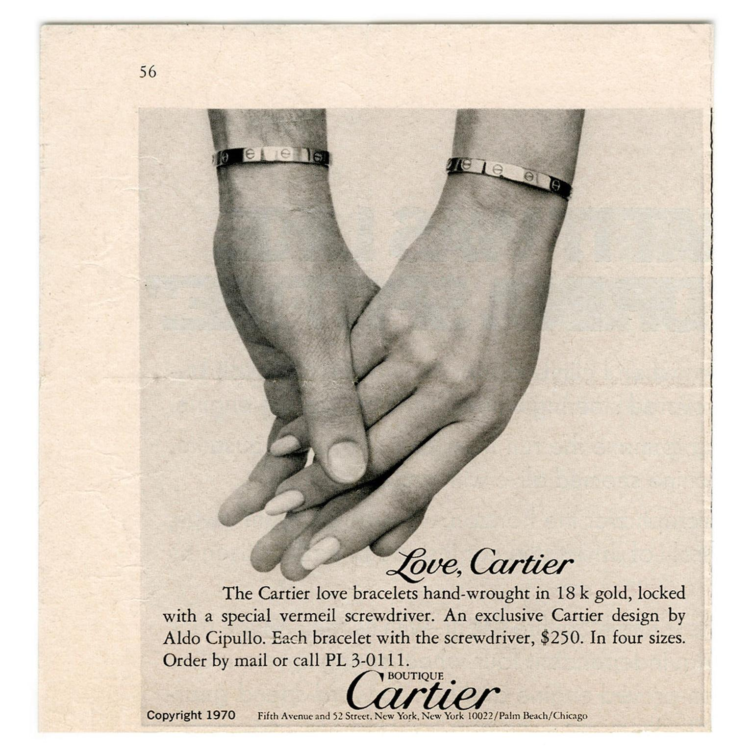 Cartier Love bracelet ad from 1970