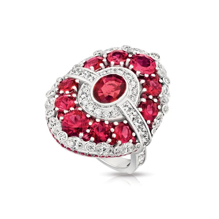 Aurora diamond and ruby ring