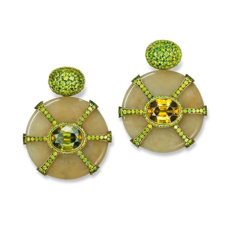 Hemmerle jade disc earrings