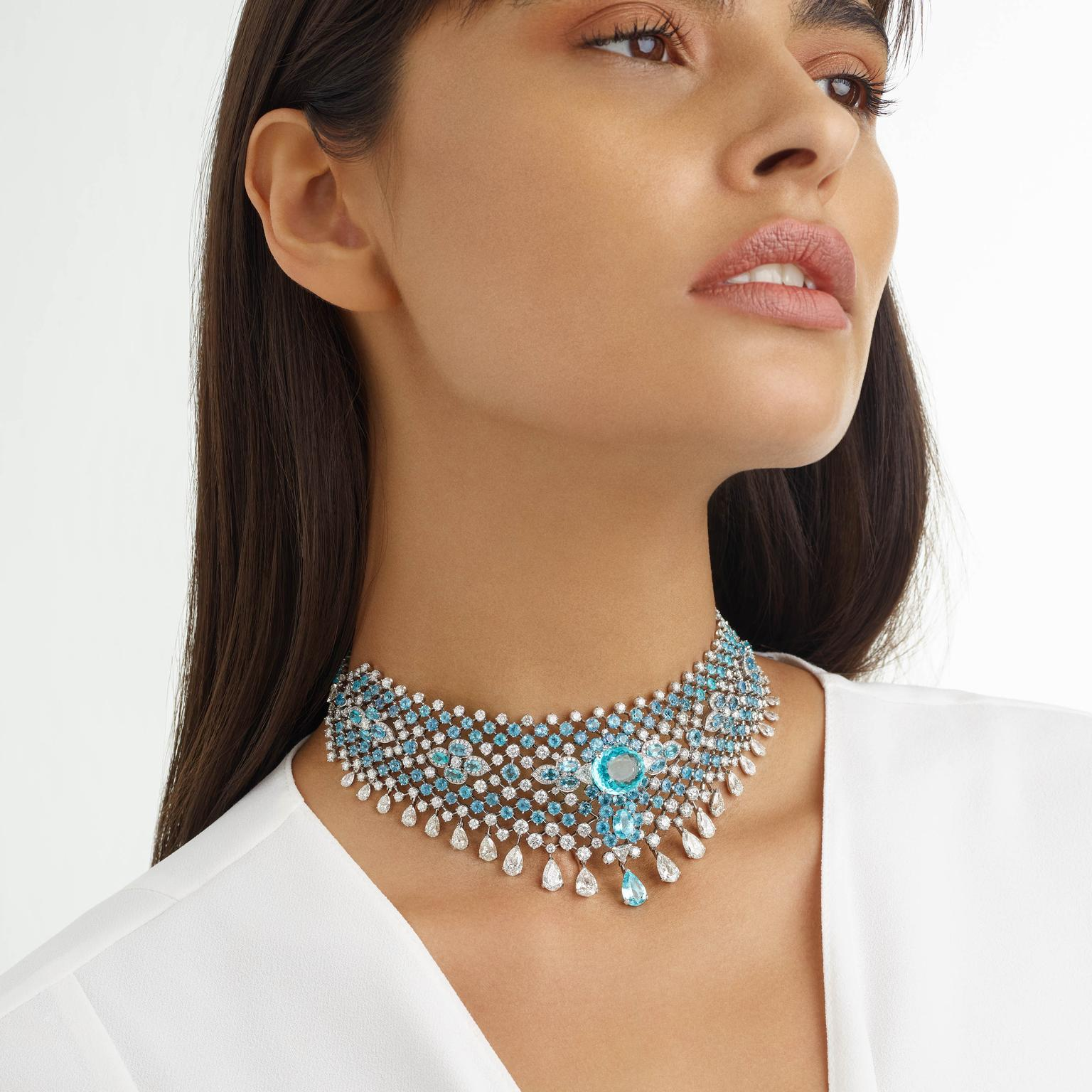 Azul choker by David Morris on model