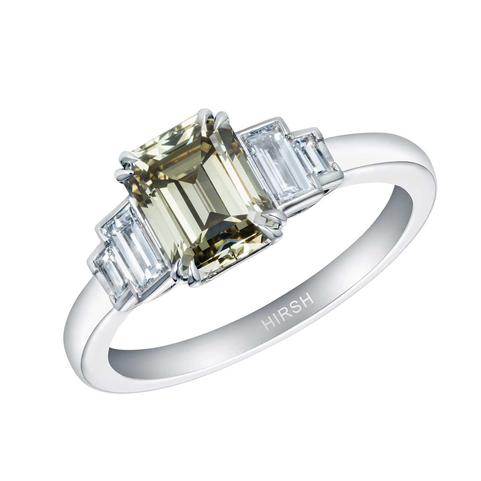 Artemis olive green diamond ring by Hirsh London