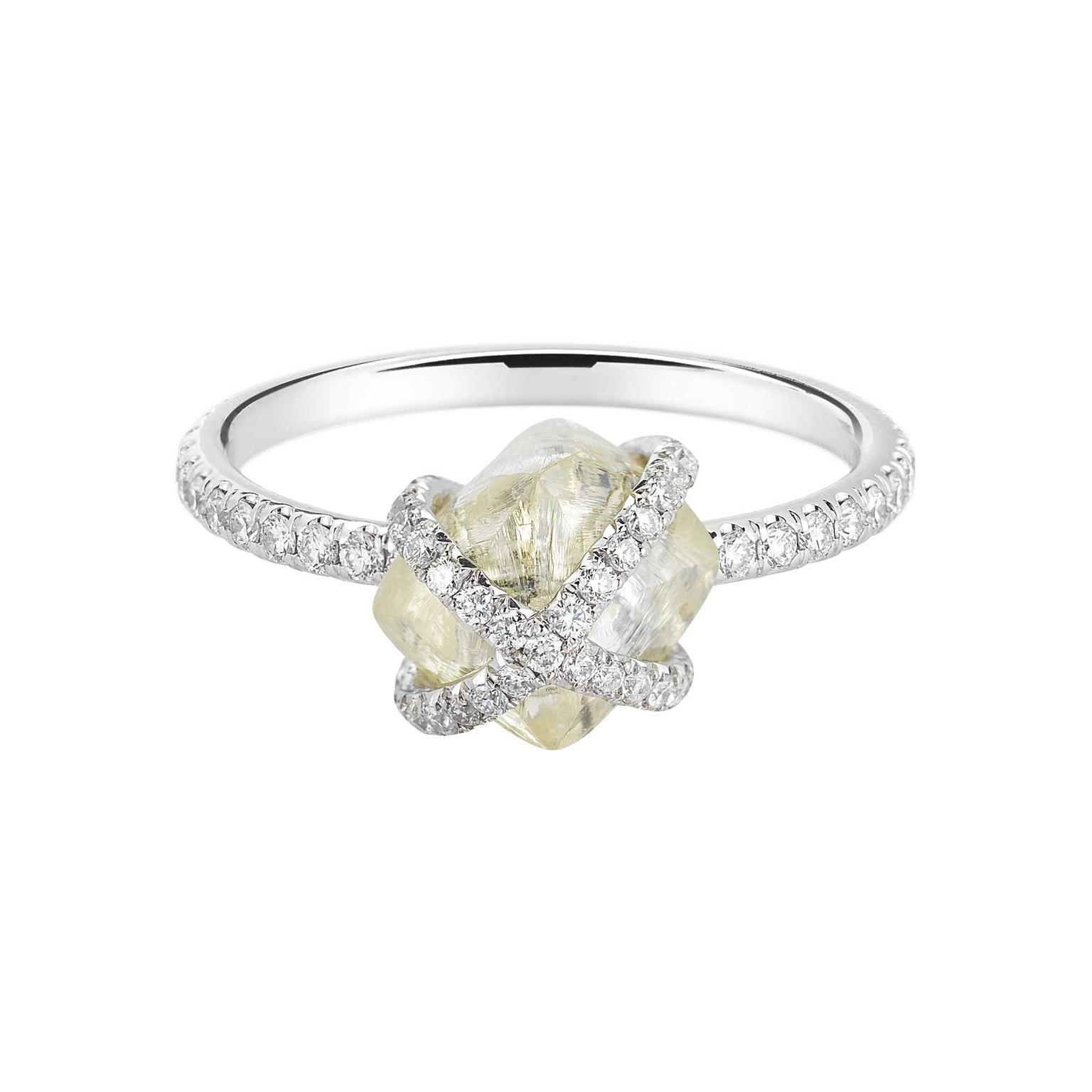 Diamond in the Rough Embrace collection engagement ring
