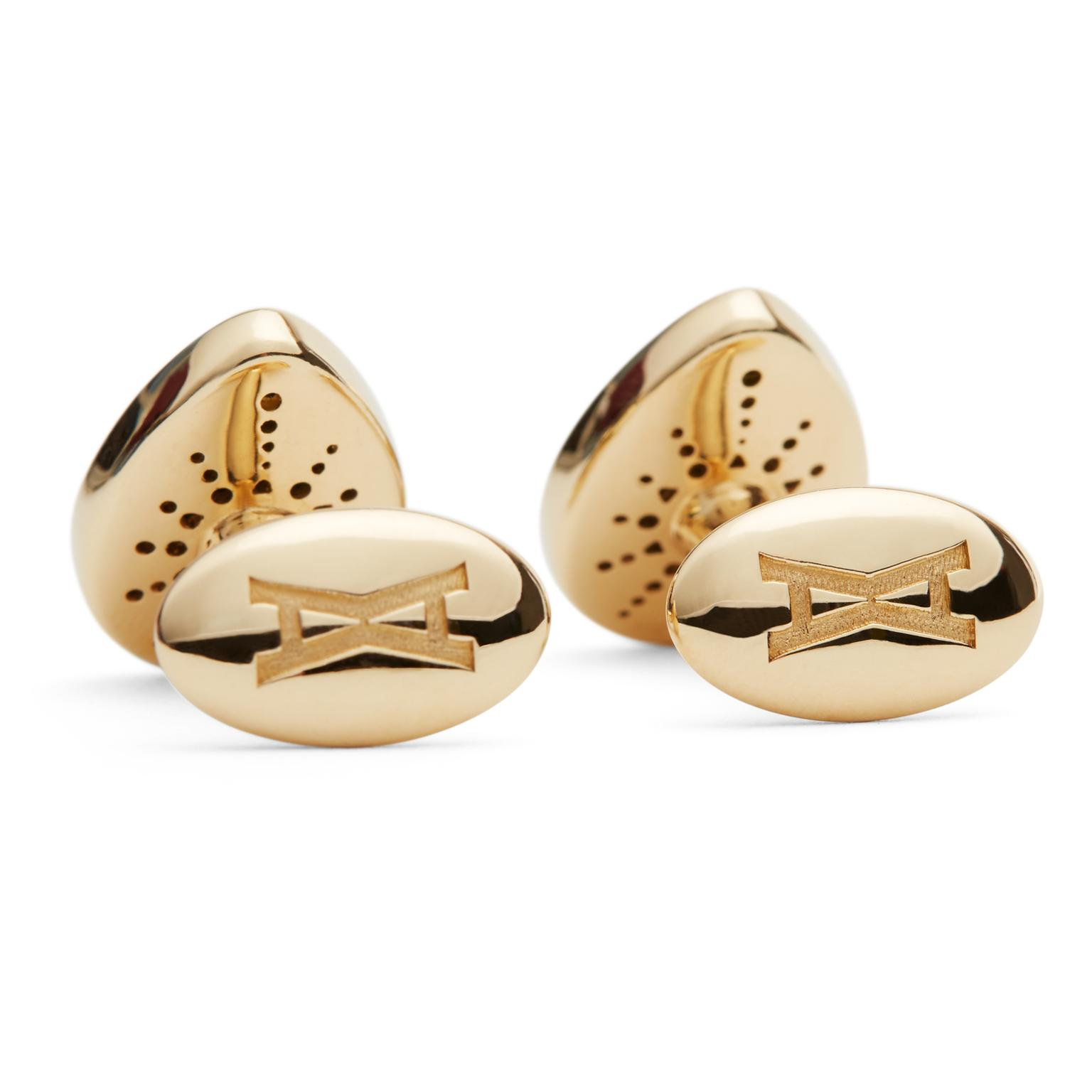 Alina Abegg Cosmic Escape malachite Alien cufflinks from back