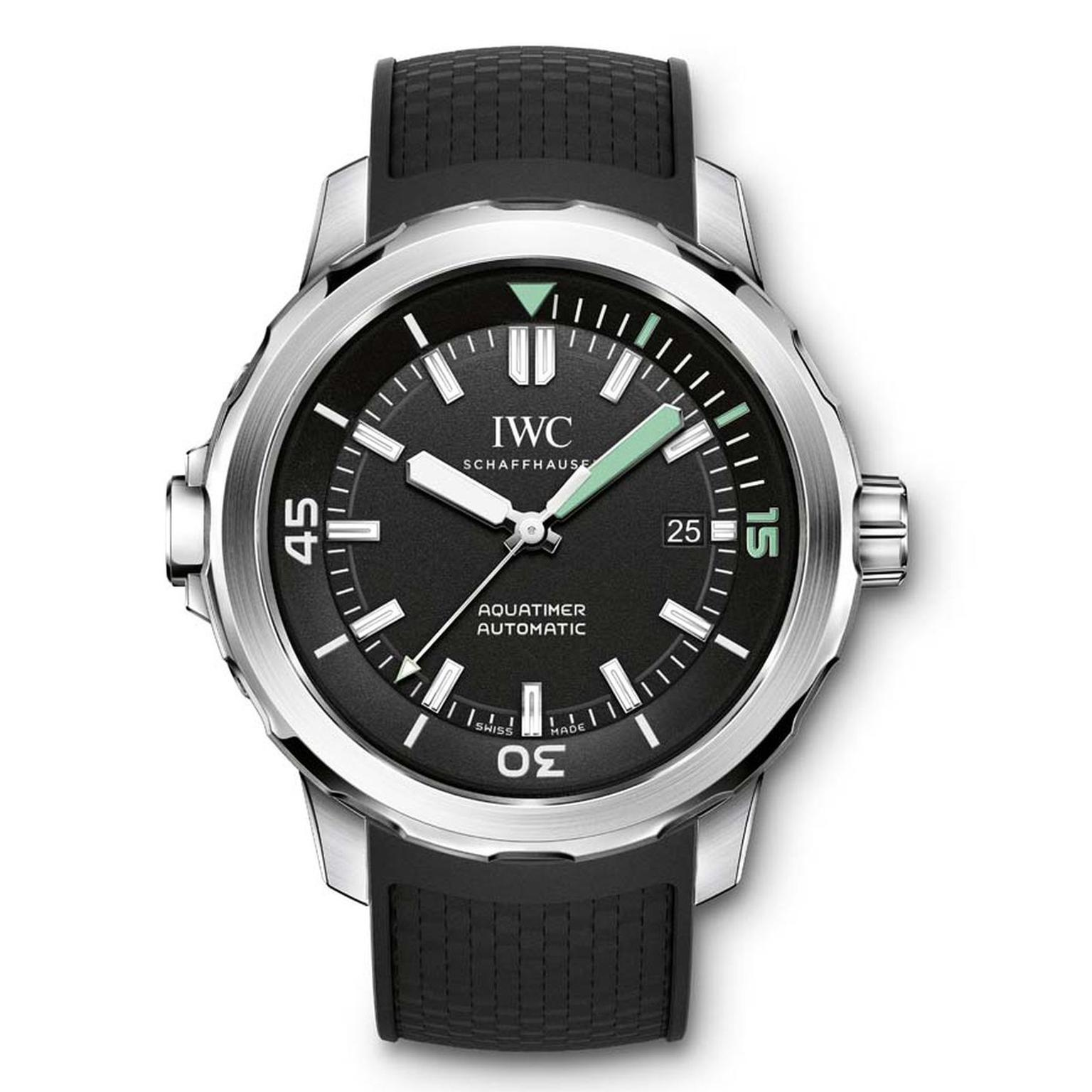 The IWC Aquatimer Automatic is a serious dive watch with just three hands for optimal legibility. The 42mm stainless steel case features IWC's innovative SafeDive system on both the external and interior bezels (£4,250).
