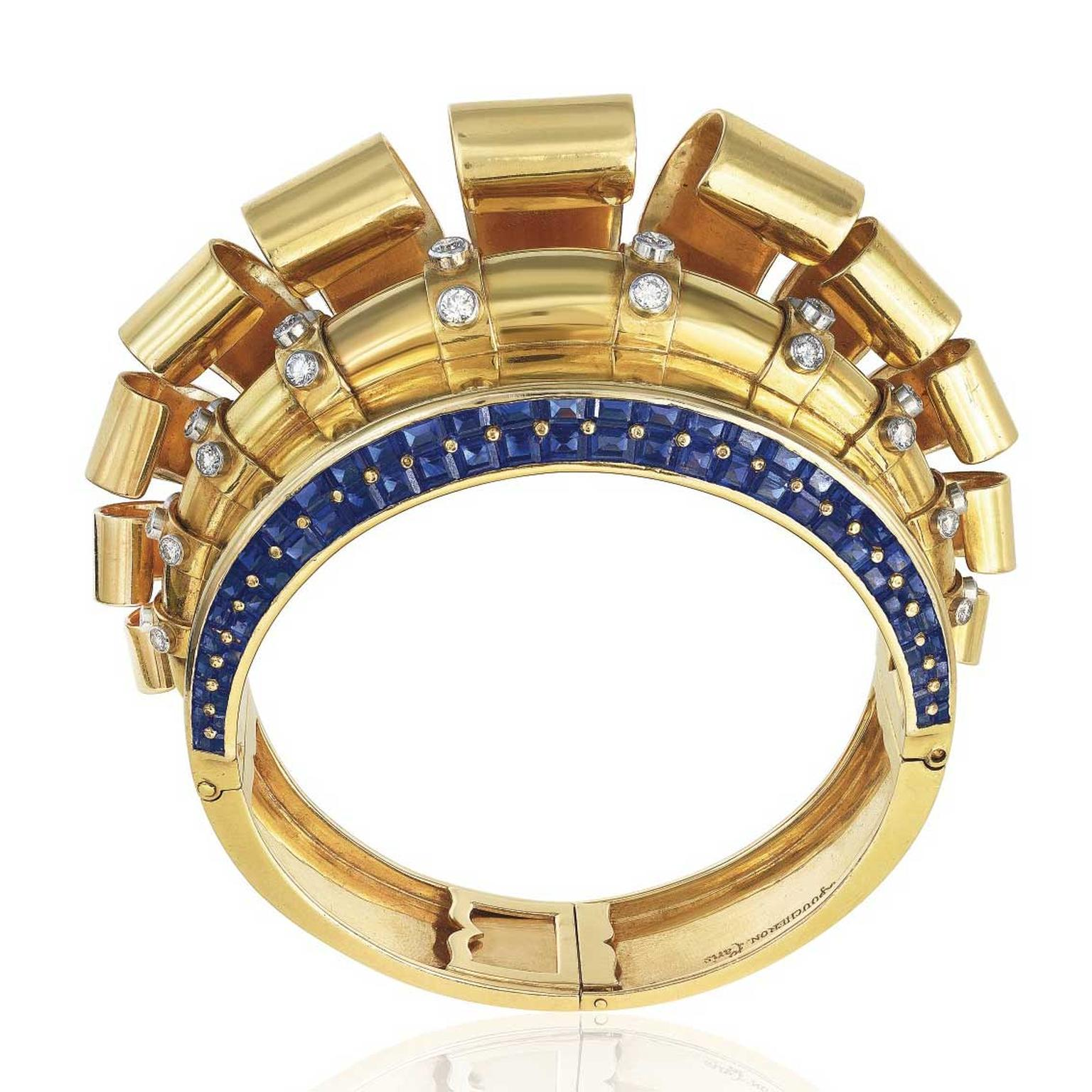 Vintage sapphire and diamond Boucheron Medicis bangle estimate: $80,000-120,000