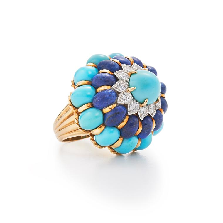Fred Leighton turquoise lapis lazuli and diamond cocktail ring
