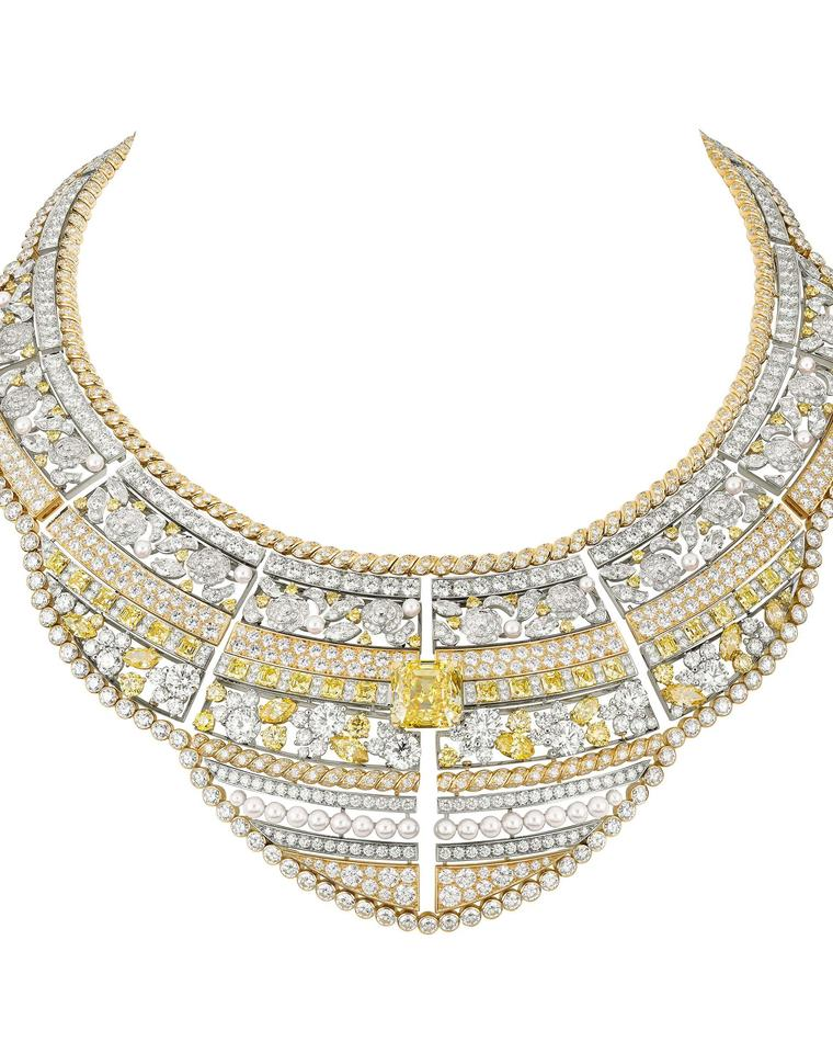Chanel Roubachka yellow and white diamond necklace