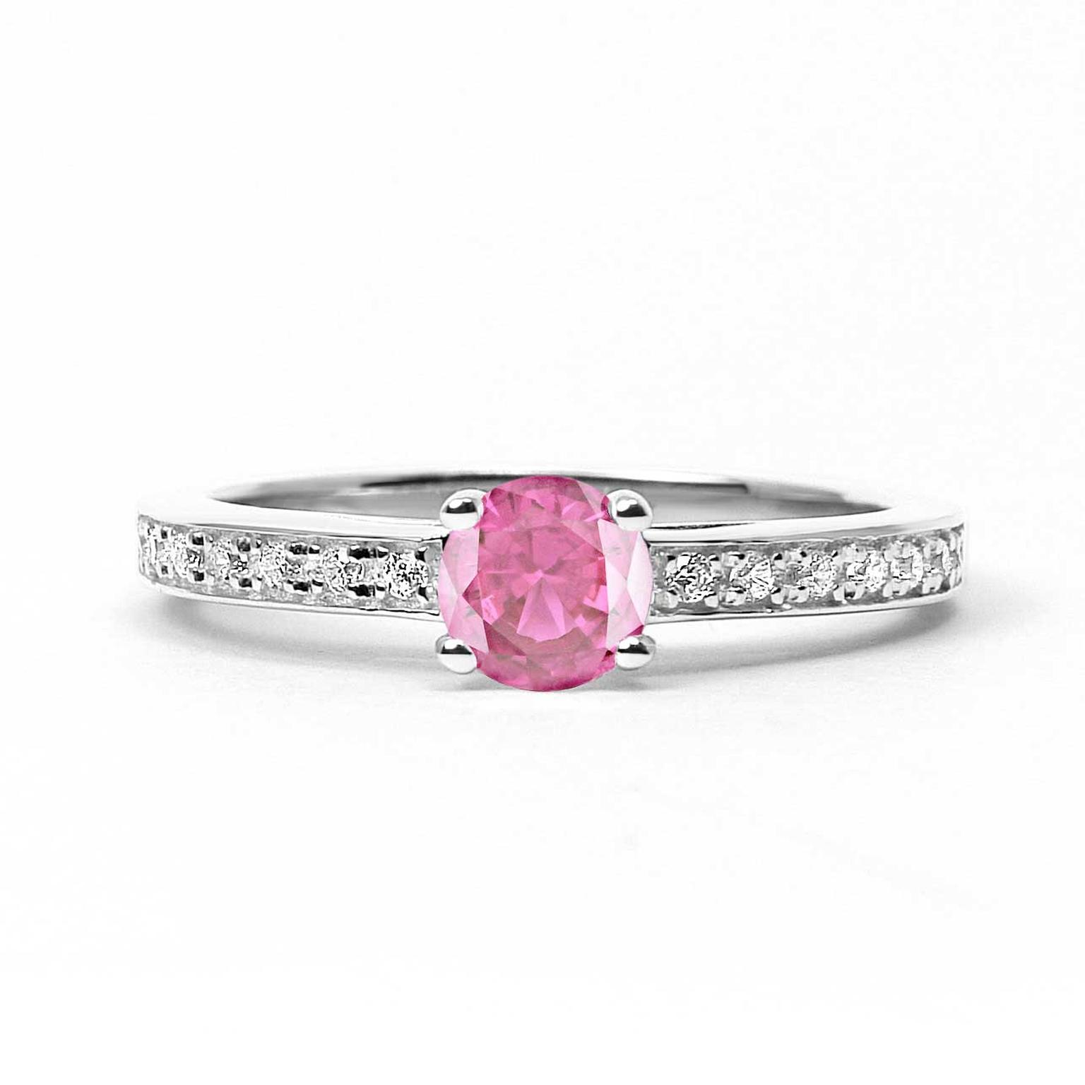 Arabel Lebrusan Athena ethical pink sapphire engagement ring in Fairtrade gold