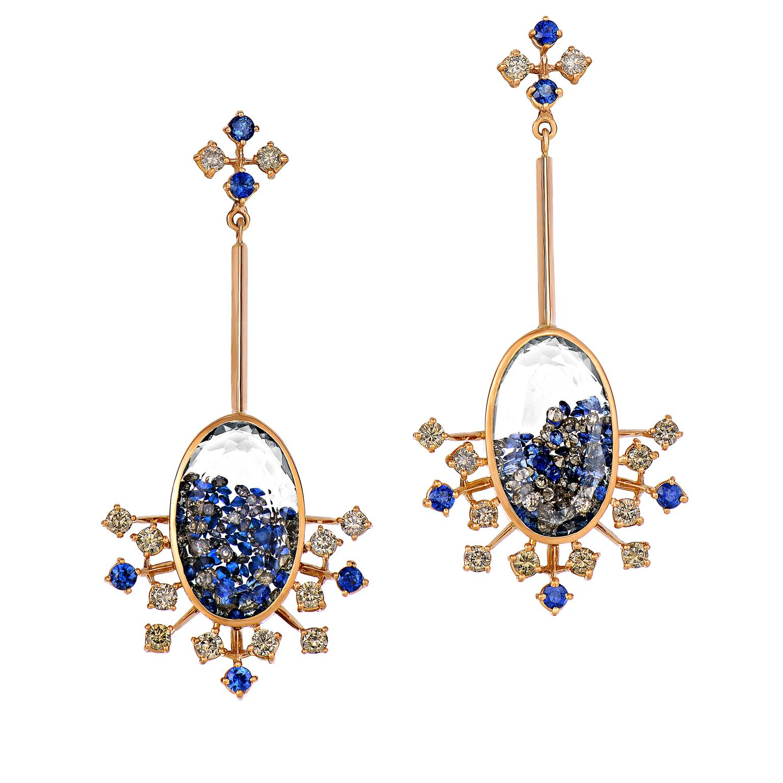 Moritz Glik blue sapphire and diamond earrings in rose gold