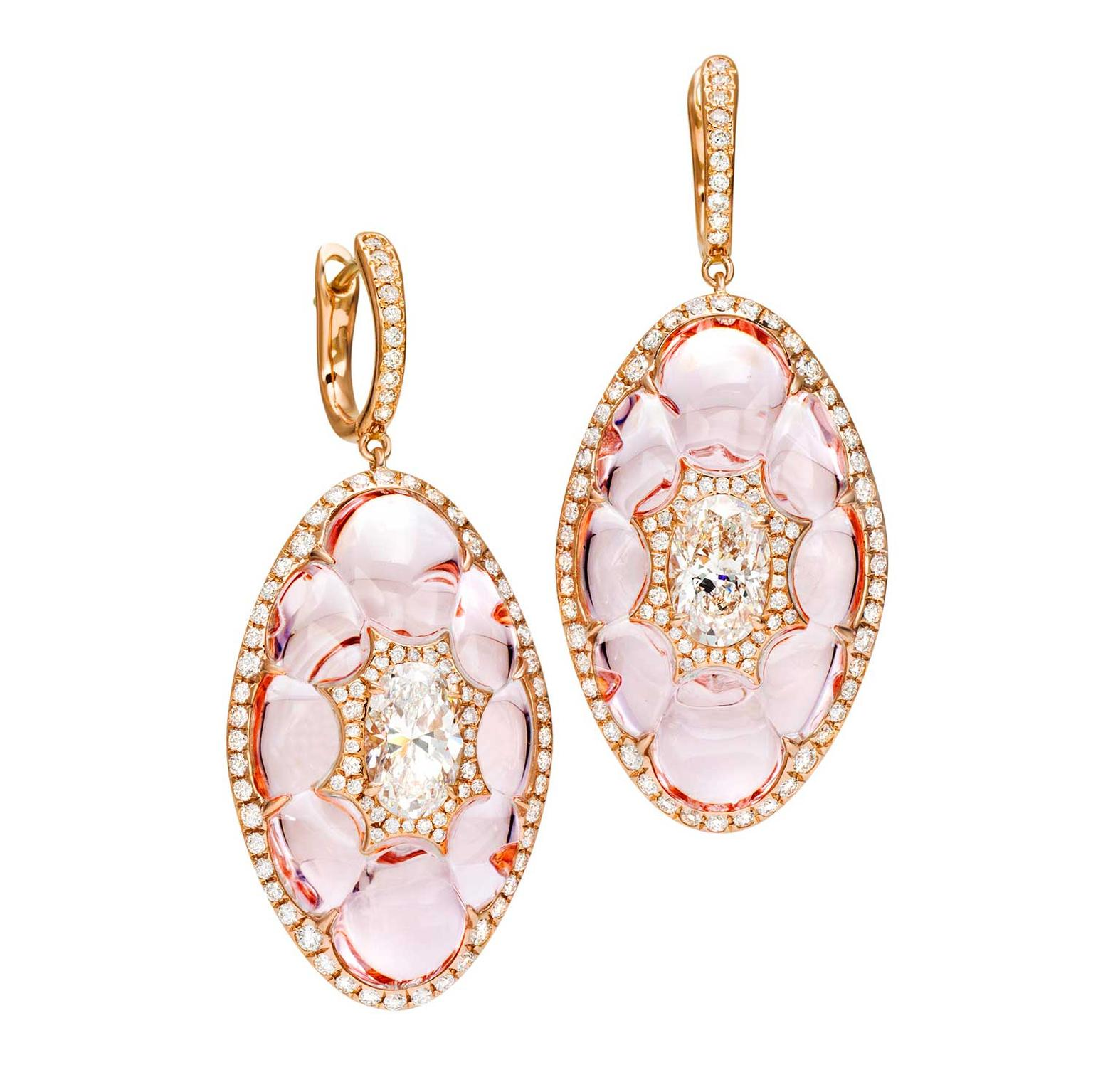 Boghossian diamond inlay into morganite earrings