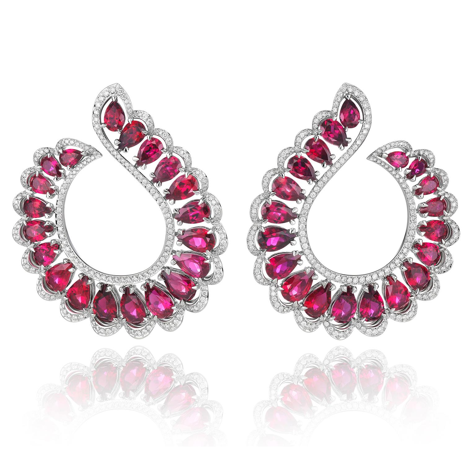 Chopard Precious pear-shaped ruby earrings