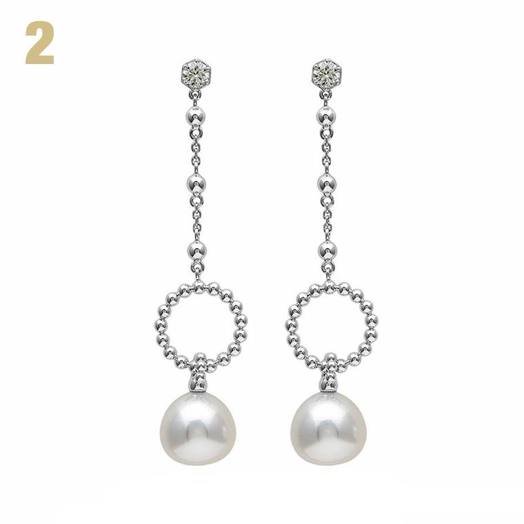 Boodles Circus diamond and pearl earrings