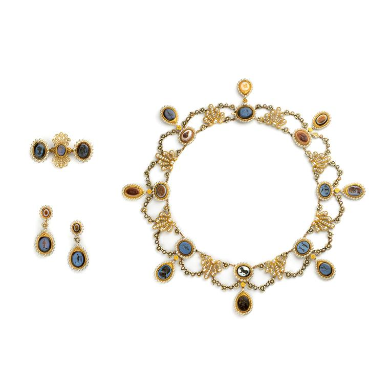 Chaumet Intaglio necklace, brooch and earrings