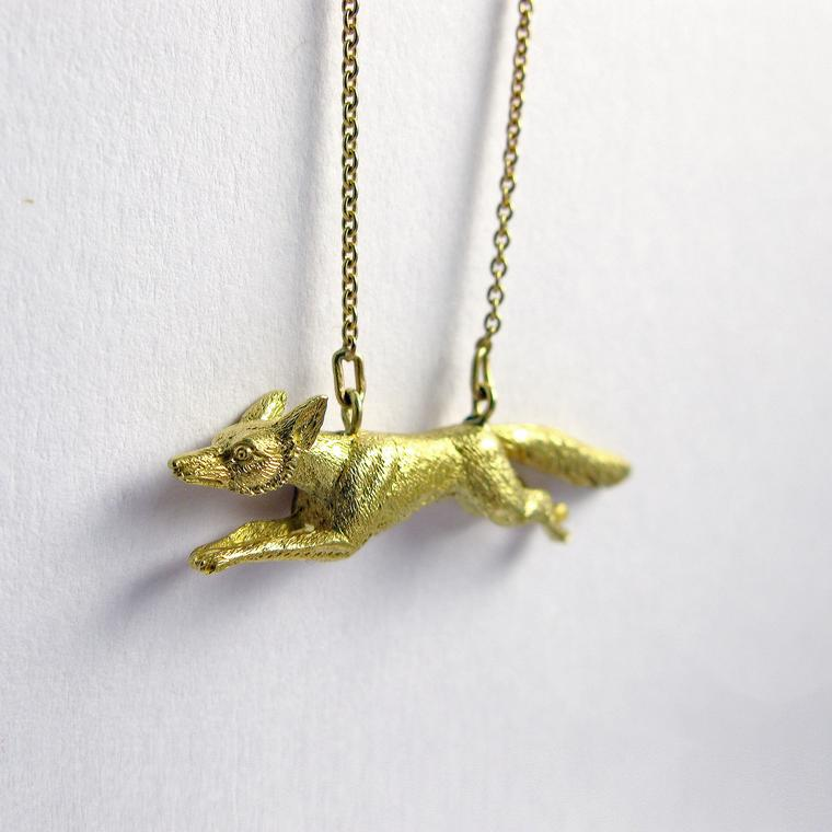Hannah Peters running fox necklace