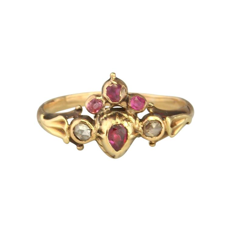 Antique Velvet Gloves crowned gold ruby and diamond heart ring