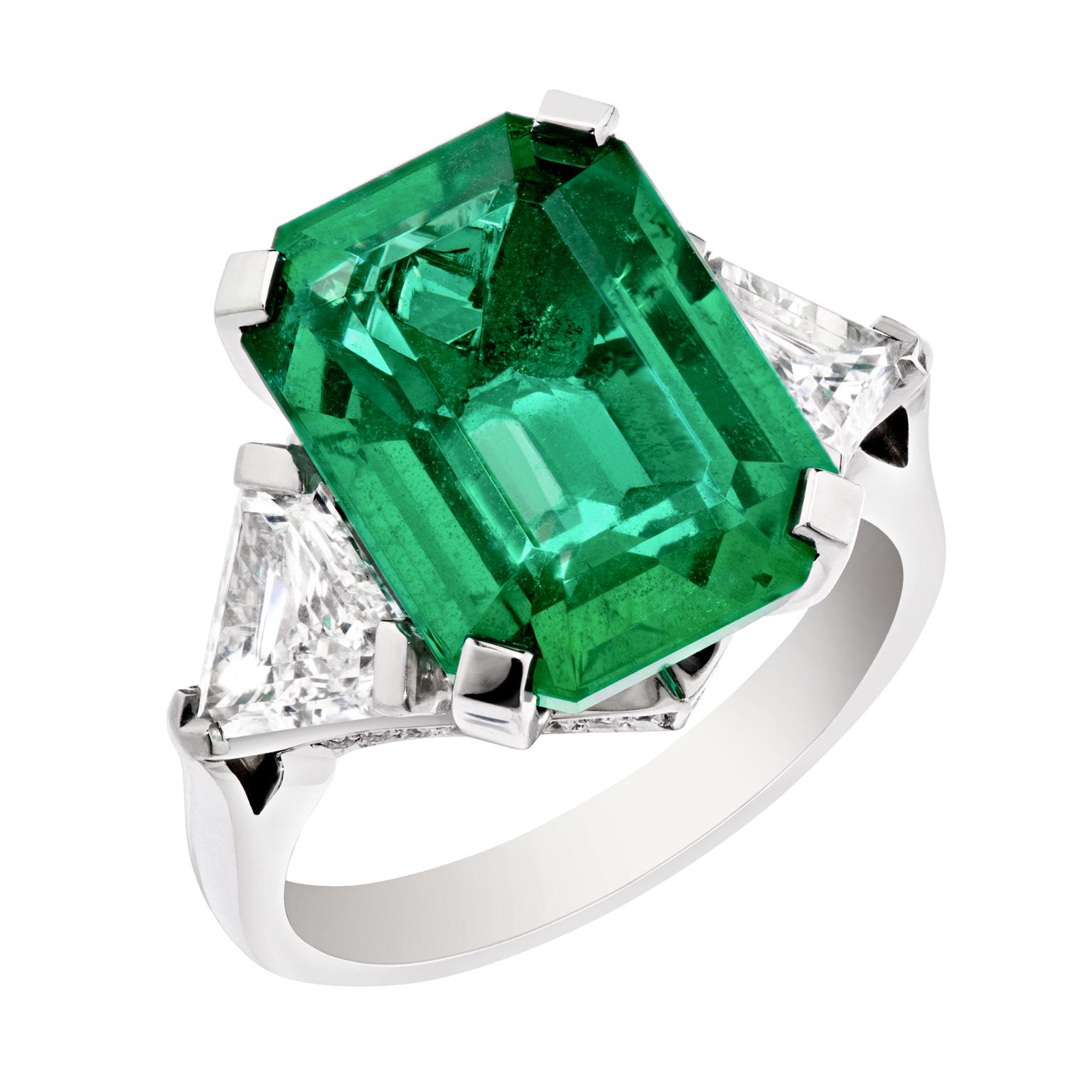 tubetto single emerald em diamond shank danhov ring