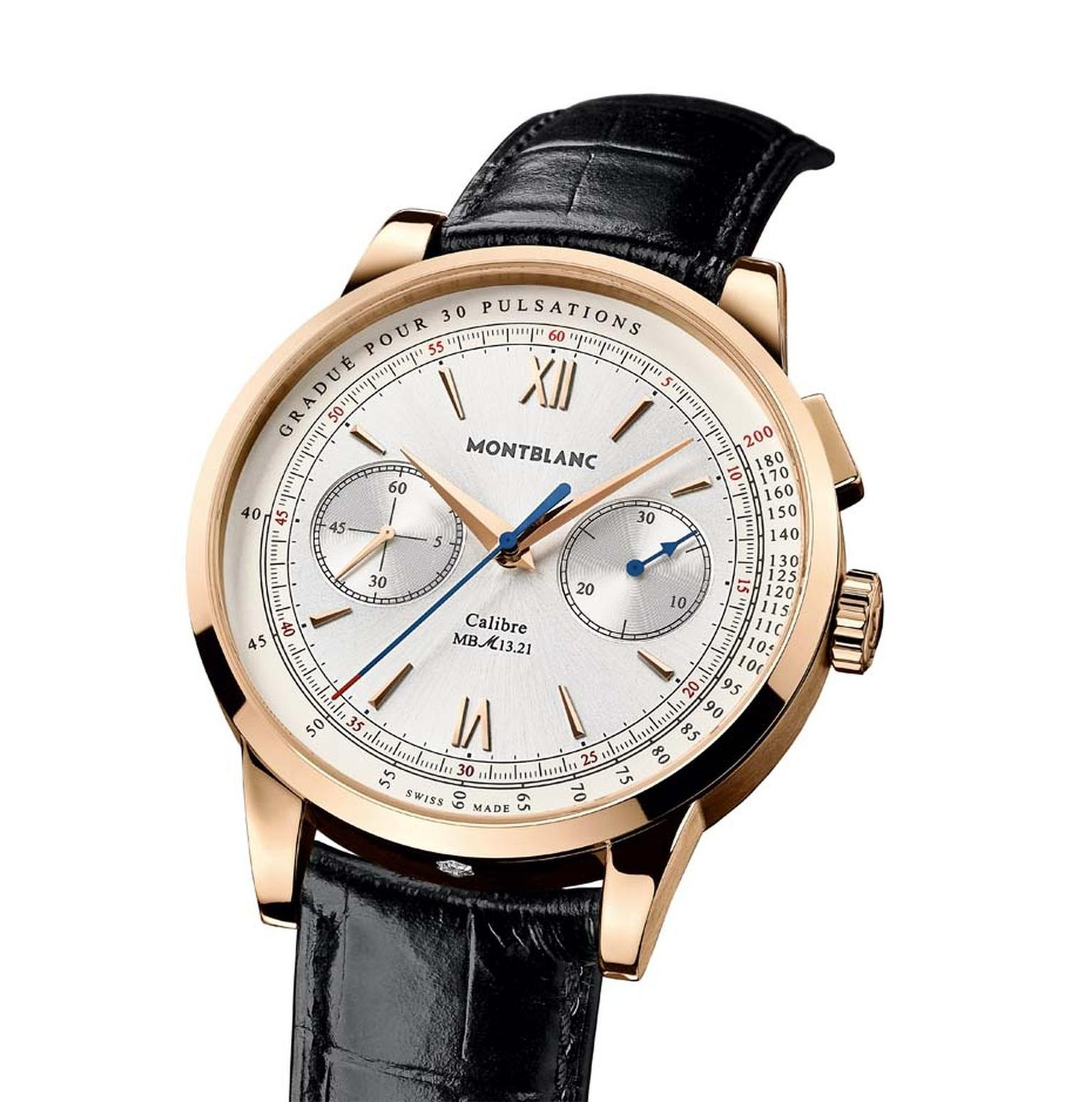 The Montblanc Meisterstück Heritage Pulsograph is also a monopusher chronograph with a pulsometer scale presented in an elegant 41mm rose gold case with a hand-wound movement.