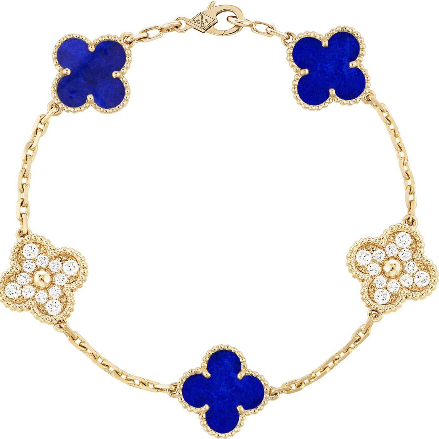 Van Cleef Arpels Vintage Alhambra necklace in lapis lazulil created in limited numbers for the jewel's 50th anniversary