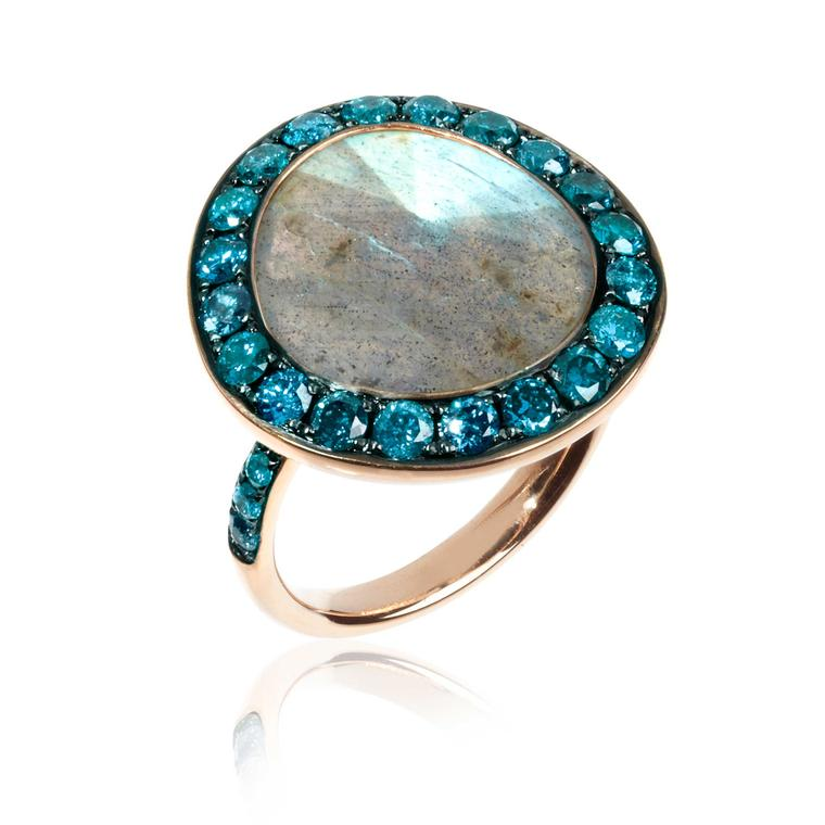 Large Annoushka labradorite ring in rose gold with blue pavé diamonds
