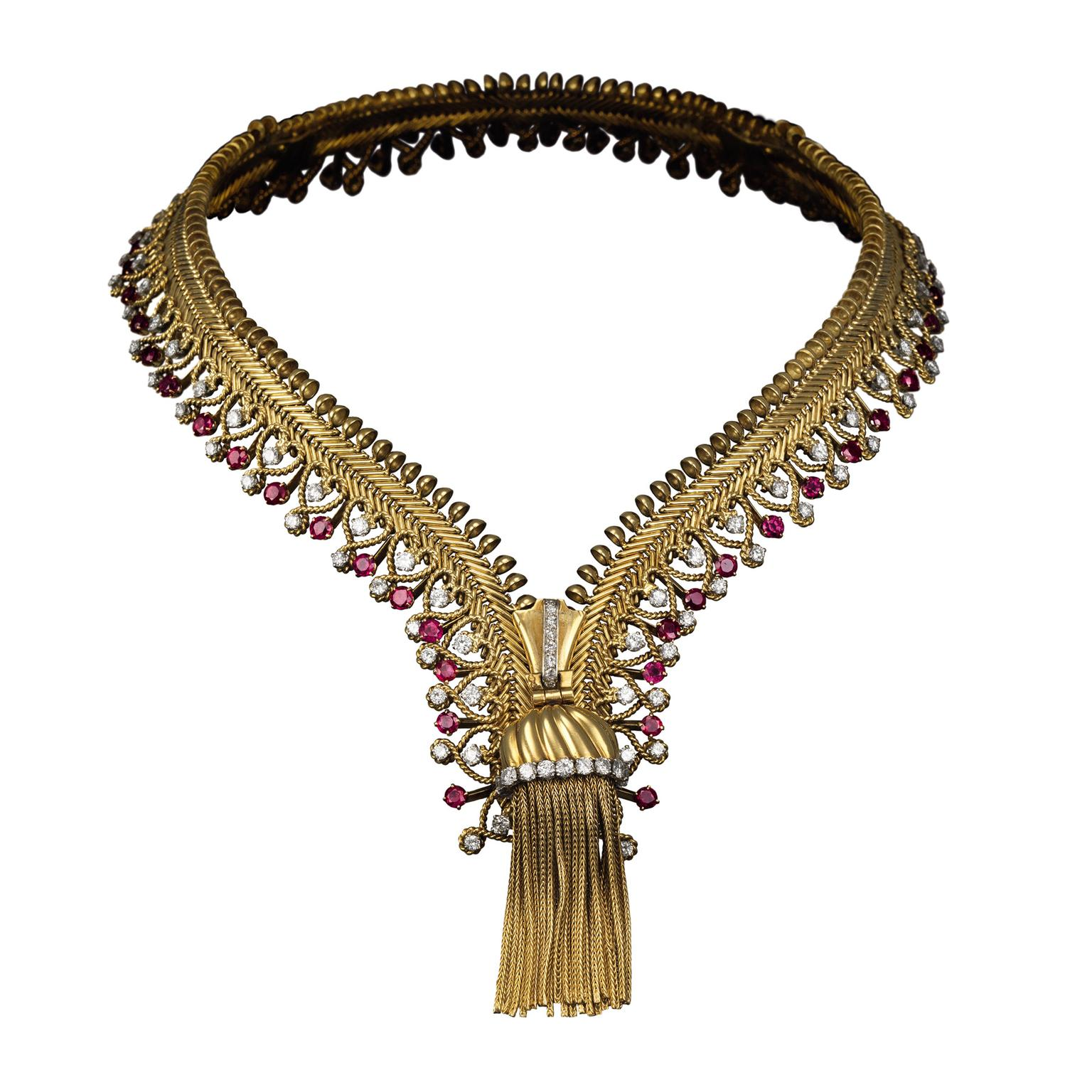 Van Cleef & Arpels ruby zip necklace 1954