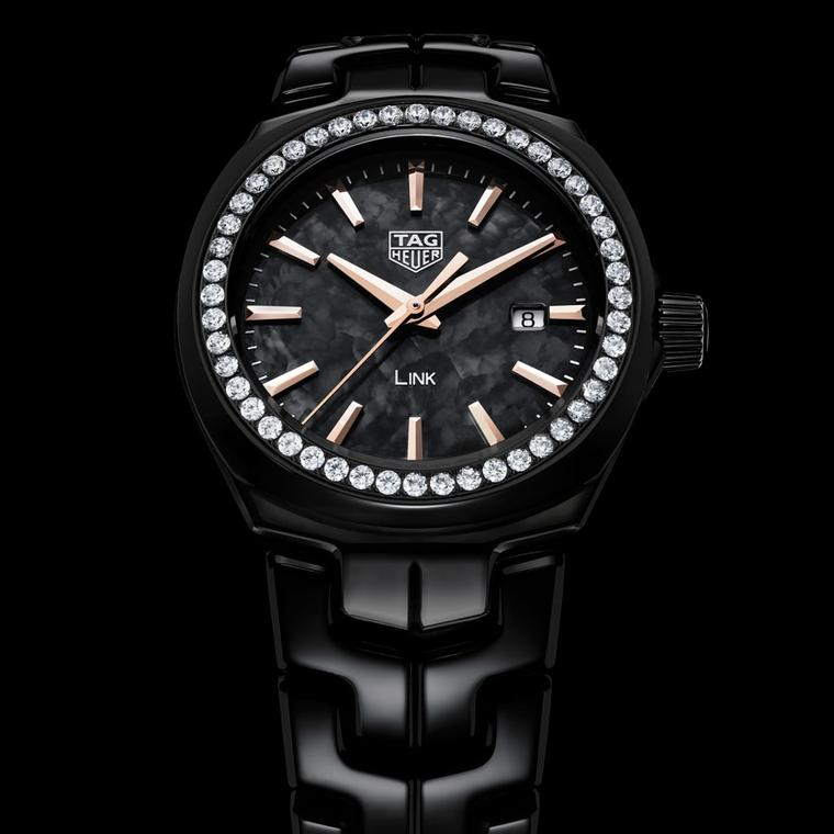 Lady Link 32mm black ceramic watch with diamonds