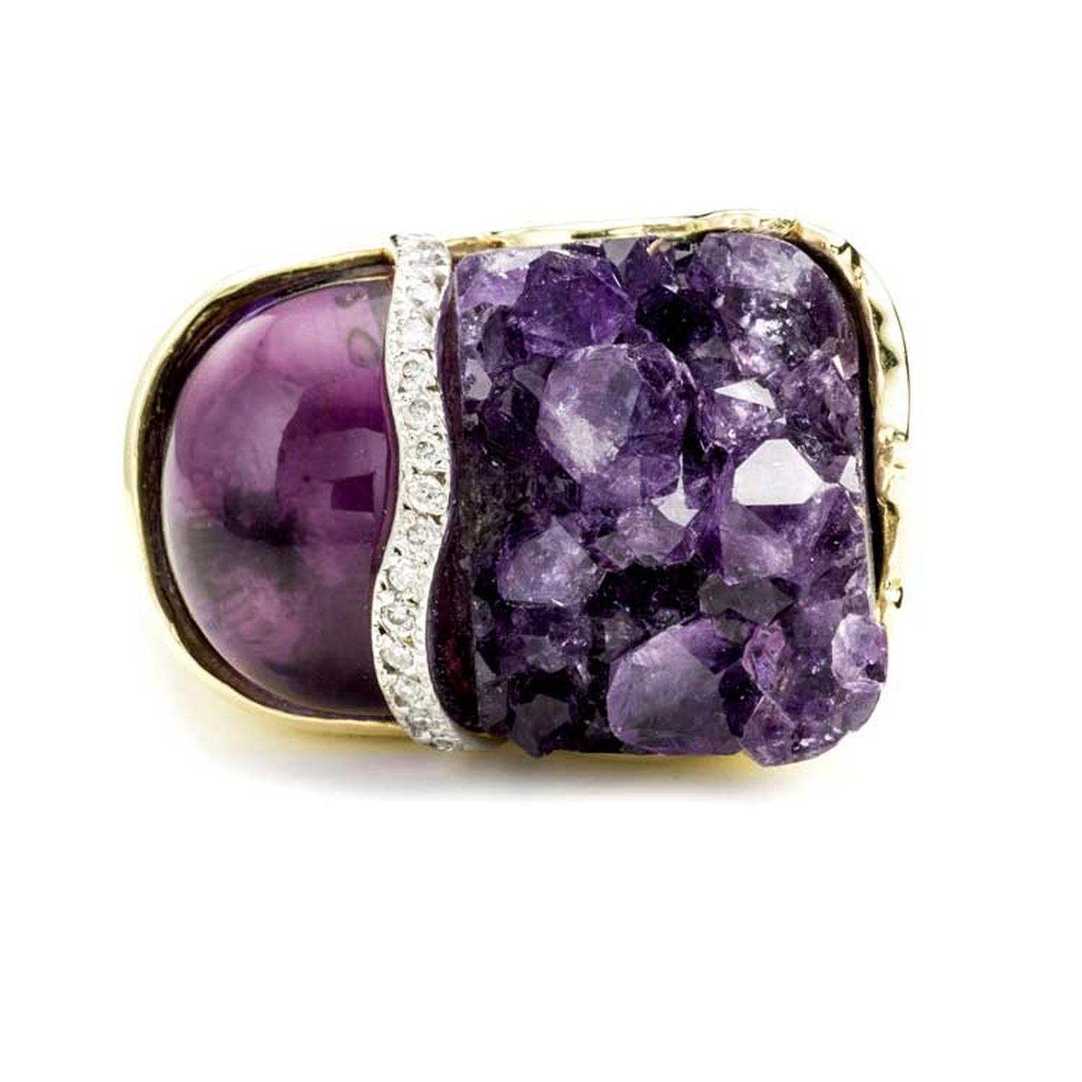Kara Ross Petra Split ring with raw and smooth amethyst and diamonds front view