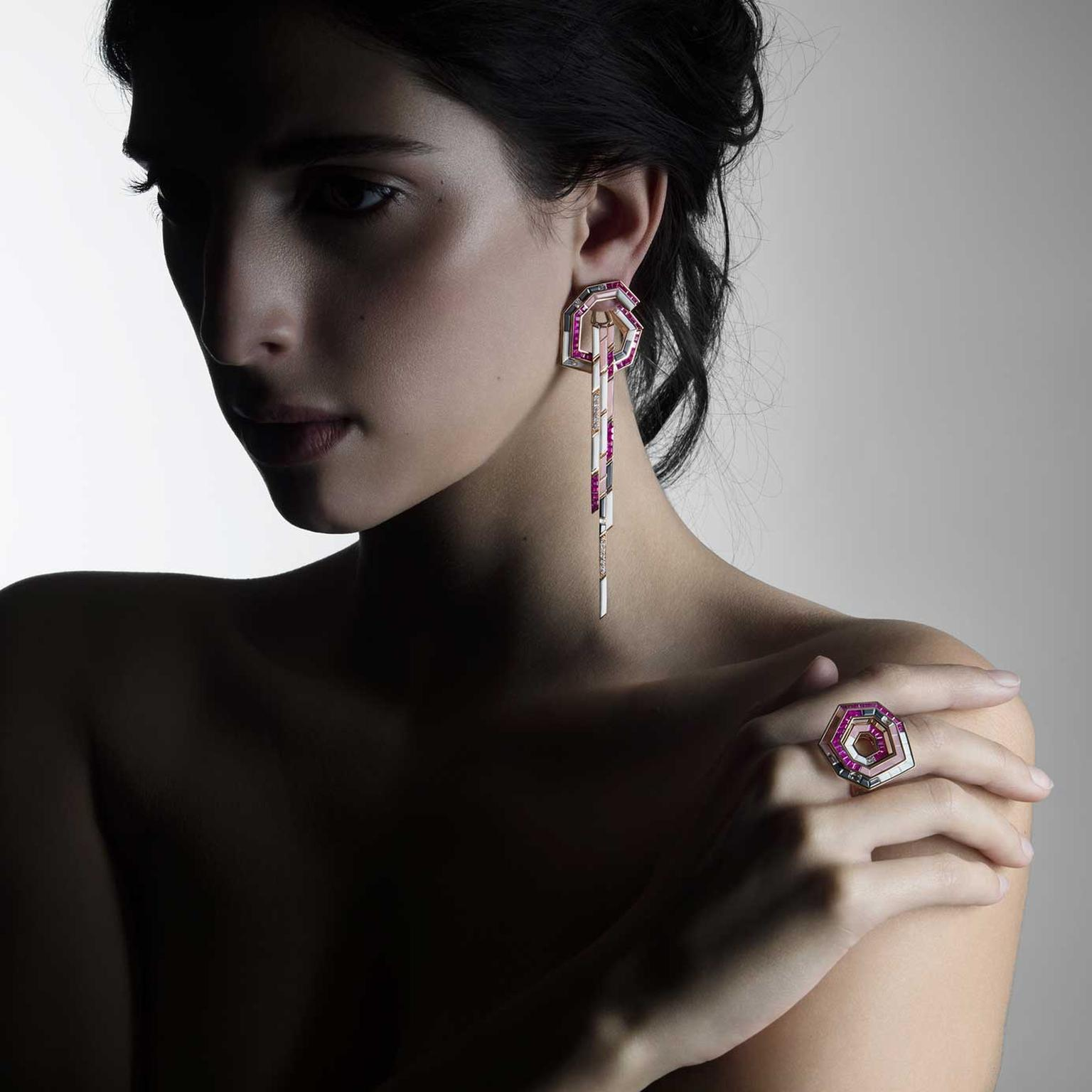 Tomasz Donocik Stellar Dune ring and earrings on model