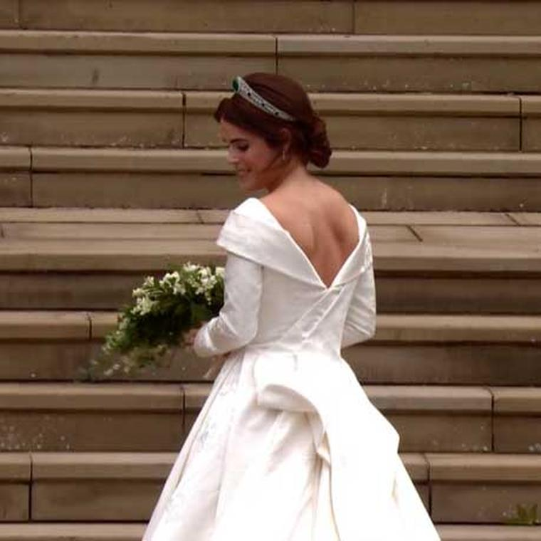 Back view Princess Eugenie wedding dress Peter Pilotto