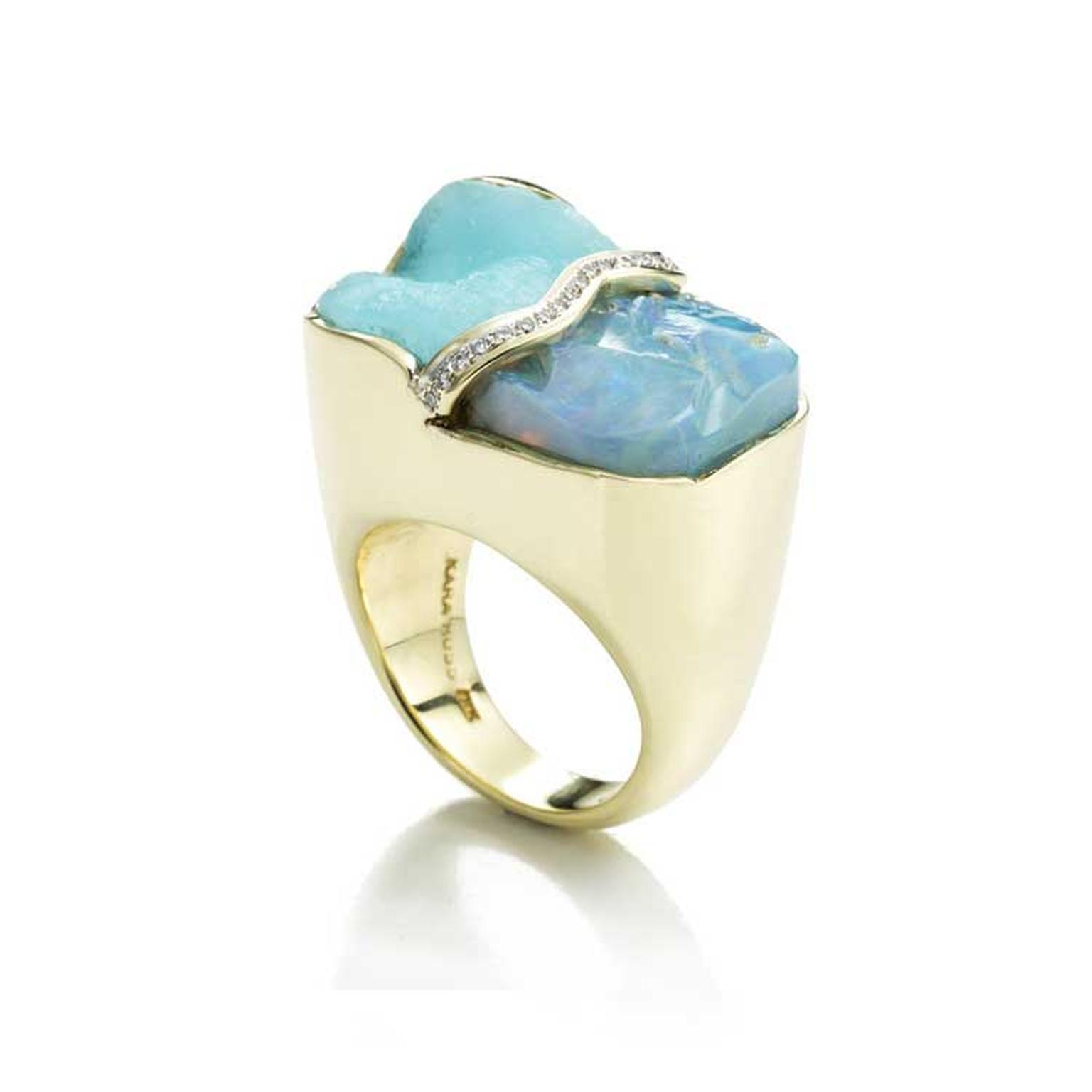 Kara Ross Petra Split ring with raw blue opal, raw hemimorphite and diamonds side view