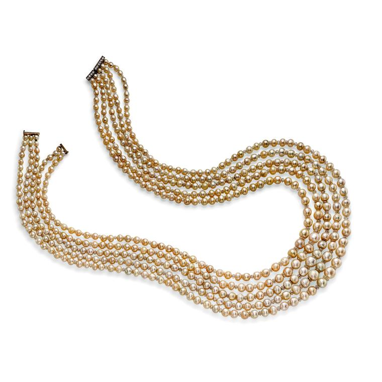A five-strand natural pearl and diamond necklace