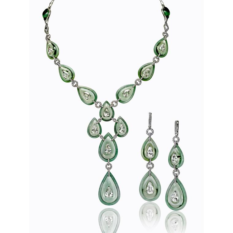 Boghossian high jewellery prasiolite and light green jade necklace and earrings