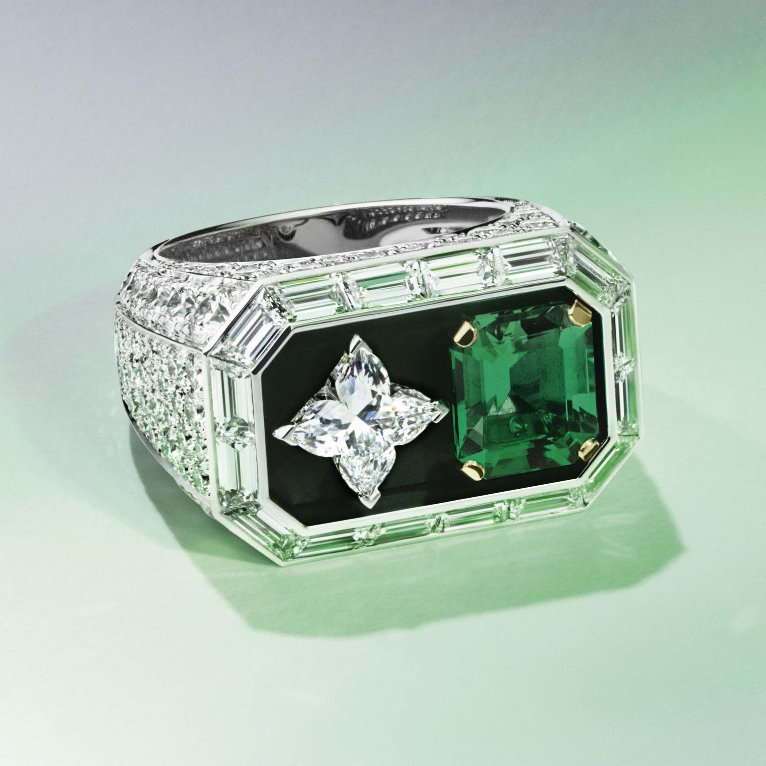 Louis Vuitton Riders of the Knights Le Royaume diamond and emerald ring